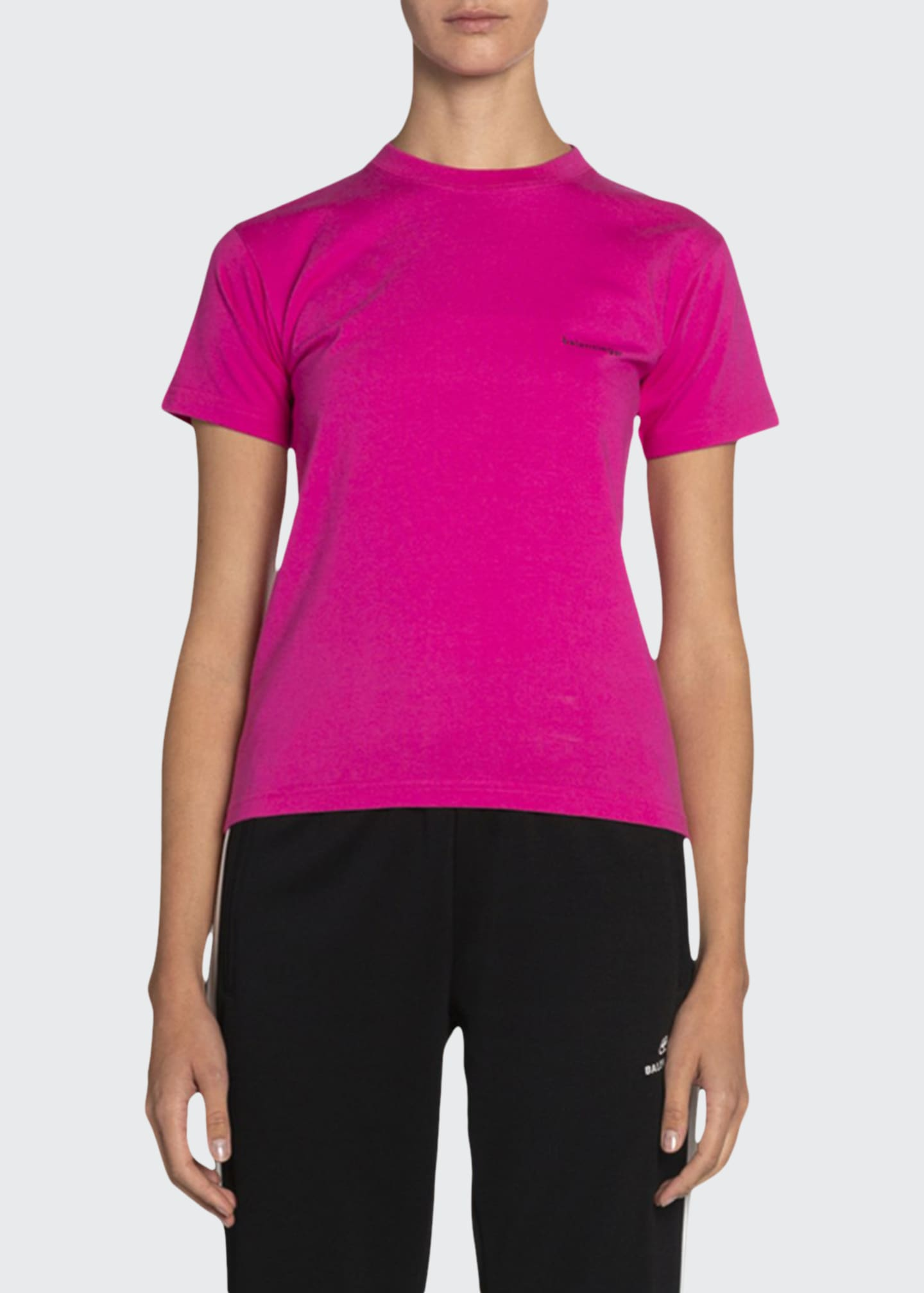Balenciaga Copyright Fitted Jersey Tee, Pink