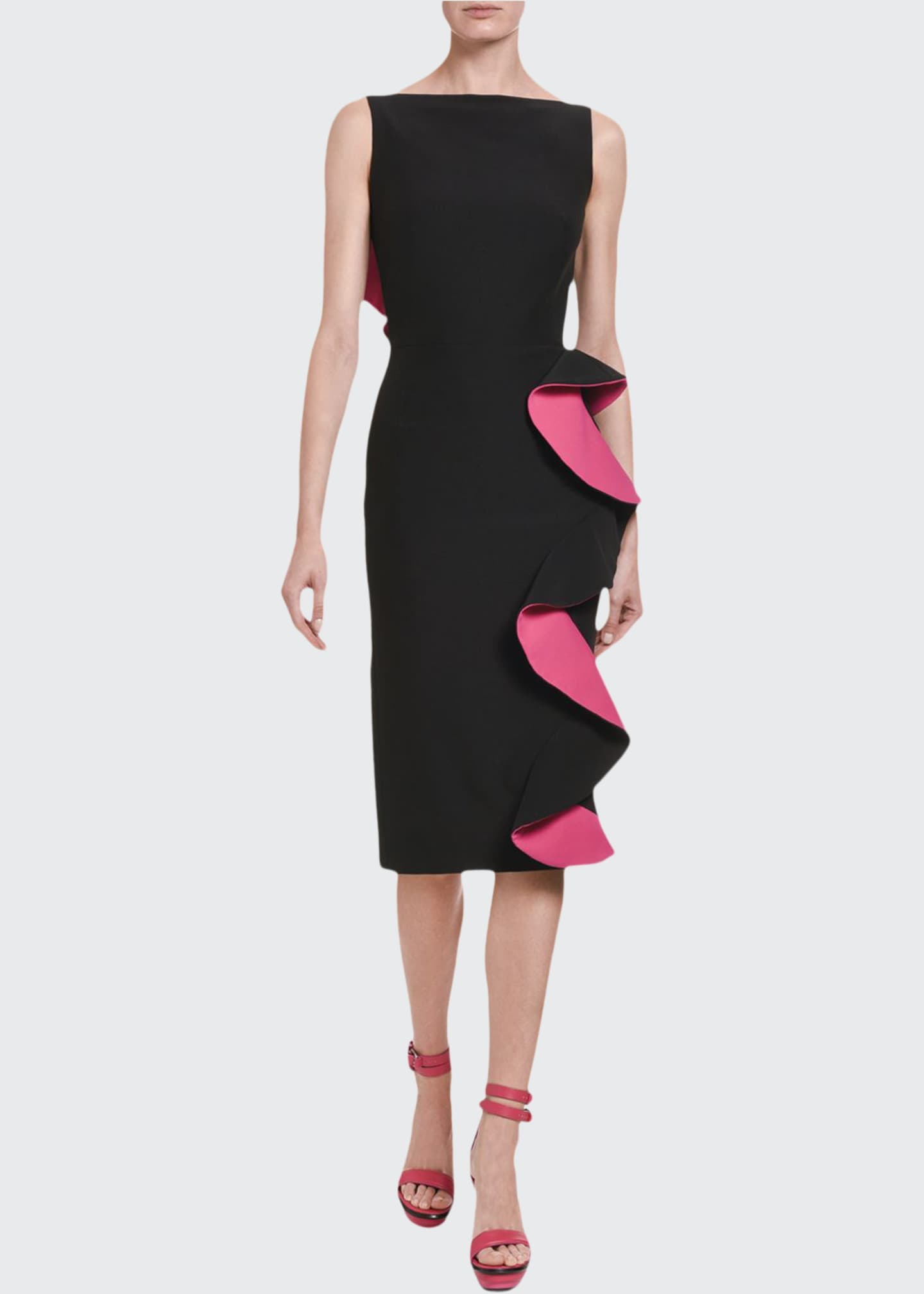 Image 1 of 3: Contrast-Face Ruffled Cutout Midi Dress