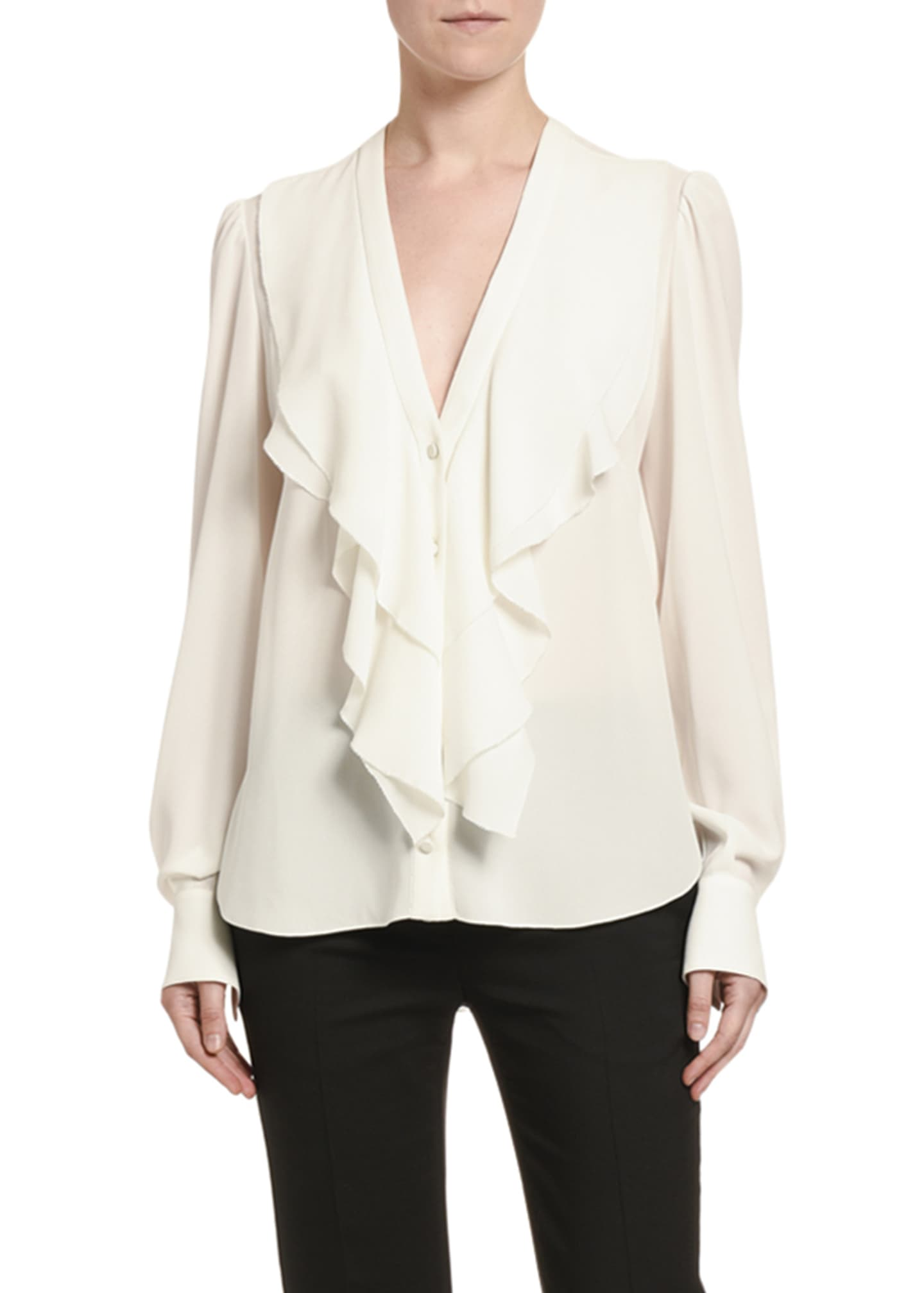 Image 1 of 2: Silk Ruffled-Front V-Neck Blouse