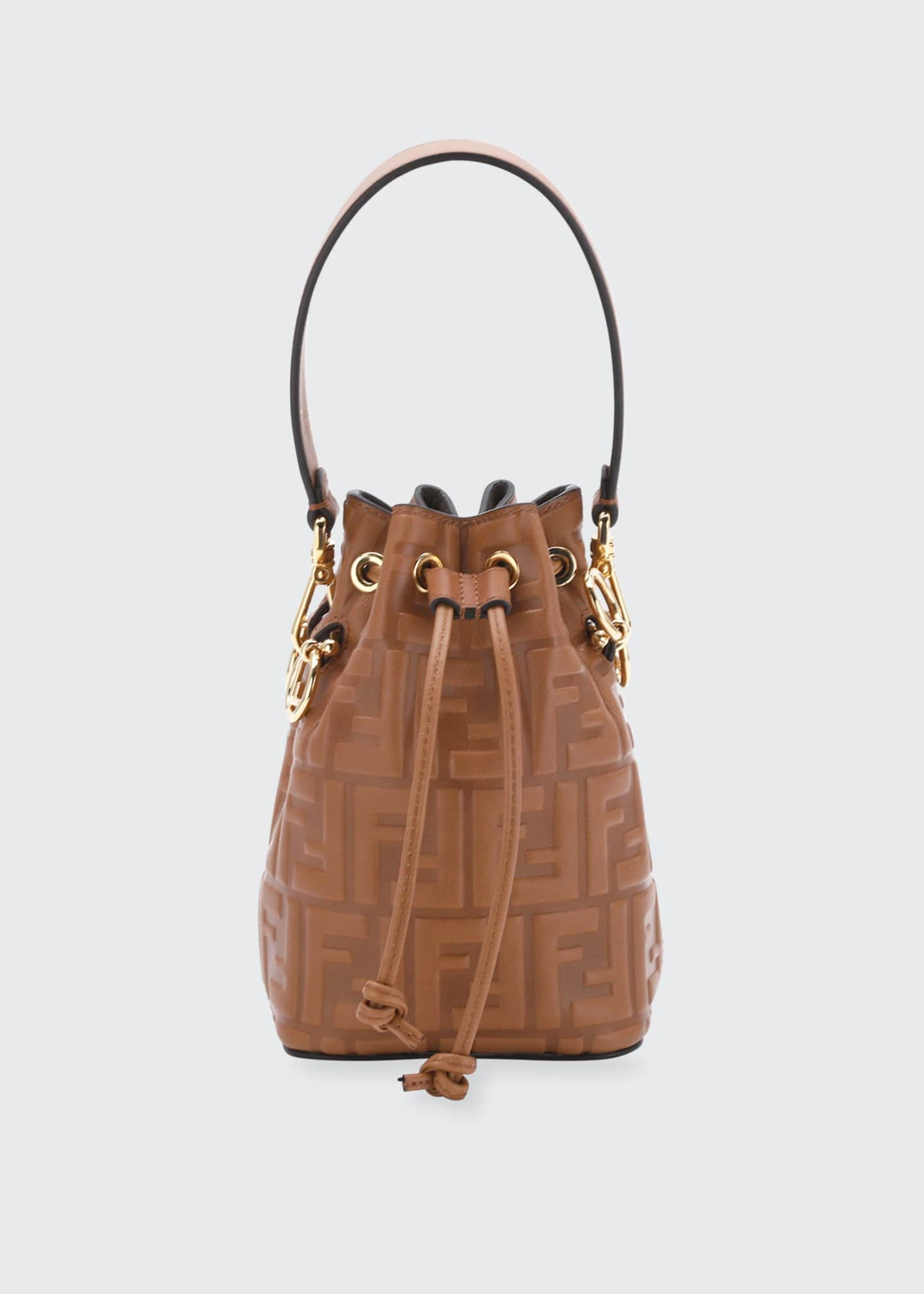 Mon Tresor Mini FF-Embossed Leather Bucket Bag