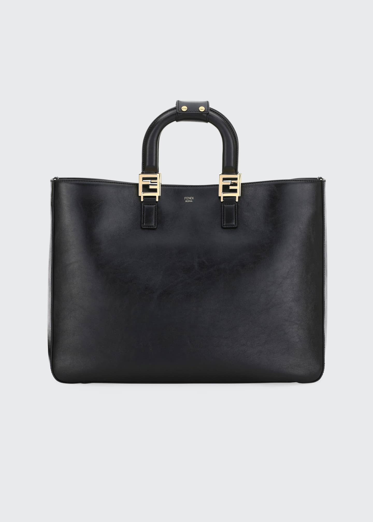 Image 1 of 3: Glacier Large Calf Leather Shopping Tote Bag
