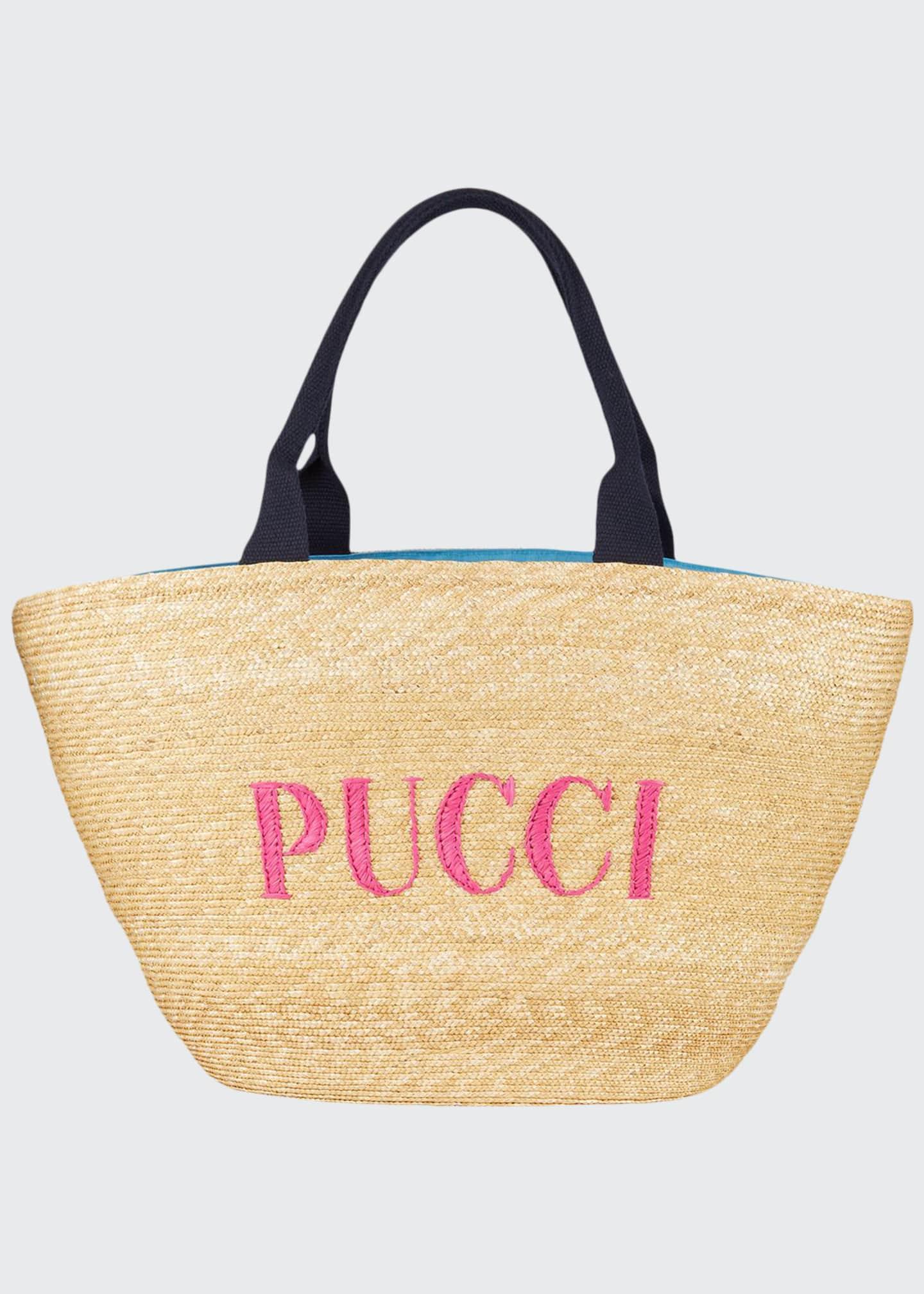 Emilio Pucci Logo Straw Beach Bag
