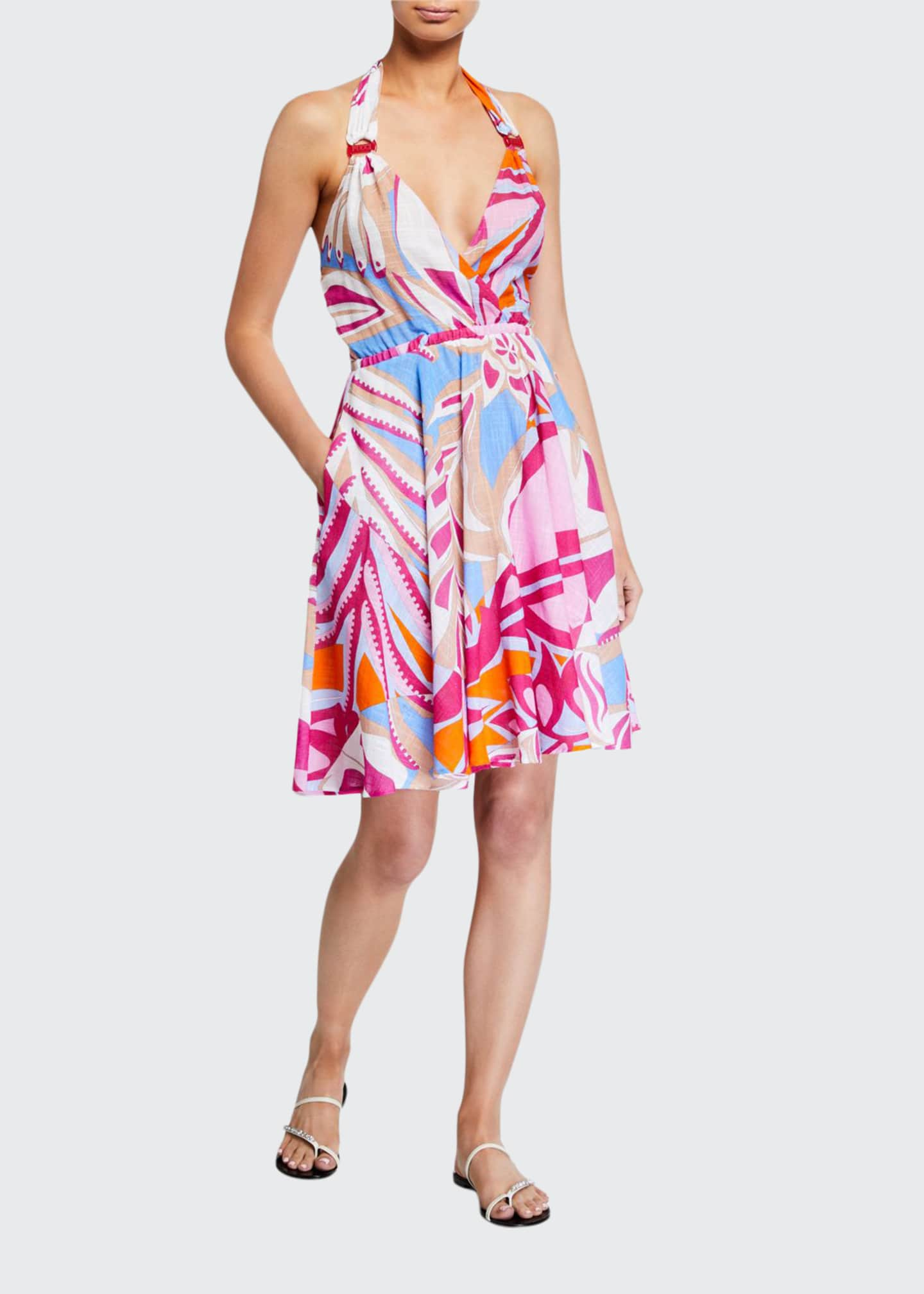 Printed Halter Coverup Dress by Emilio Pucci