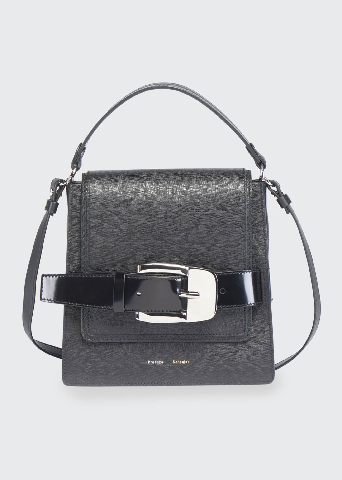 Image 1 of 3: Buckle Trapeze Grainy Shoulder Bag