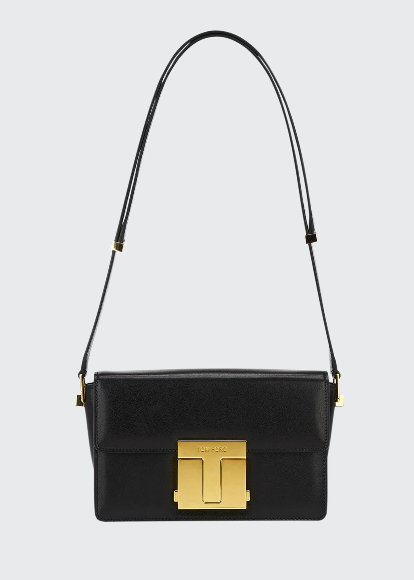Image 1 of 5: T-Clasp Shiny Leather Shoulder Bag