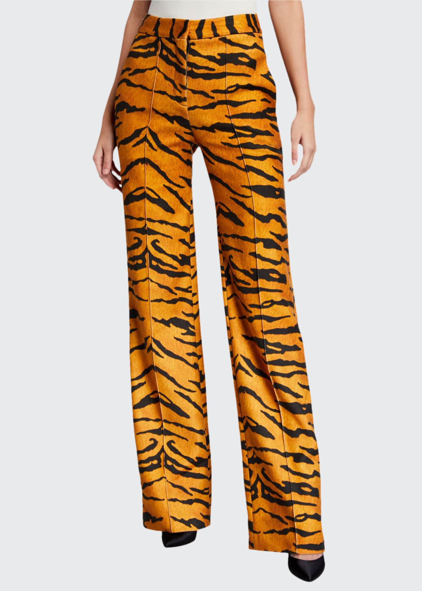 Adam Lippes Tiger-Print Jersey Relaxed Wide-Leg Trousers