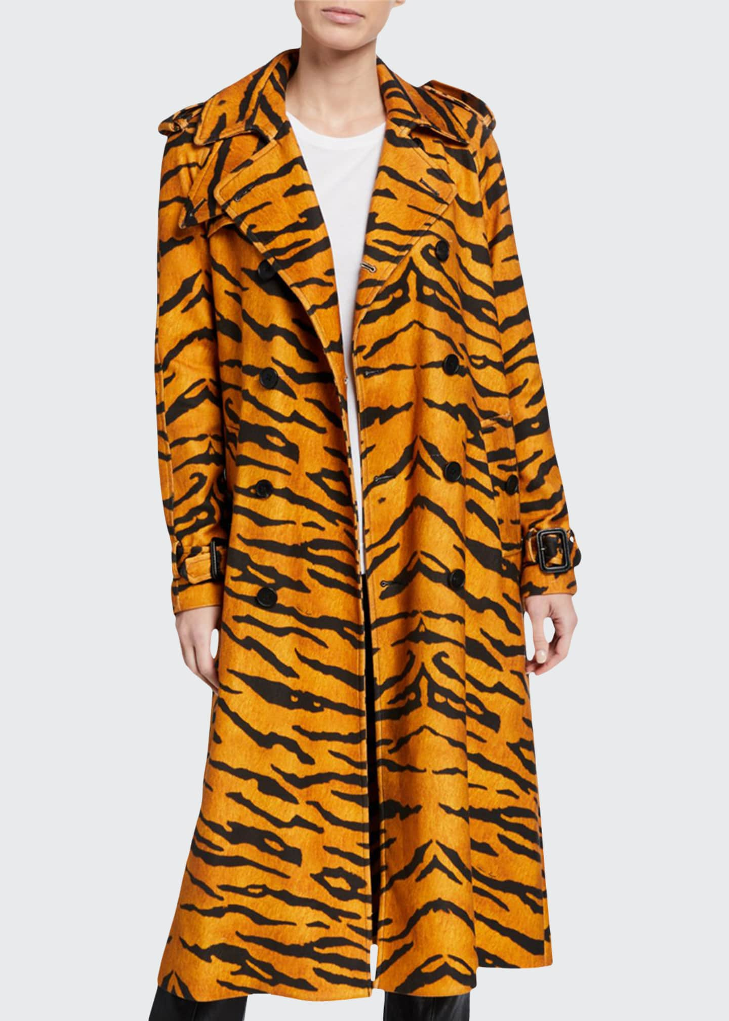Adam Lippes Tiger-Print Trench Coat