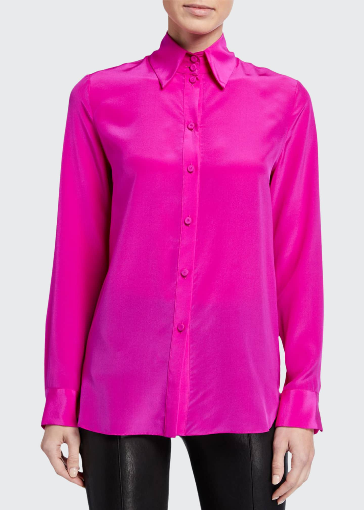 Image 1 of 2: Button-Front Blouse