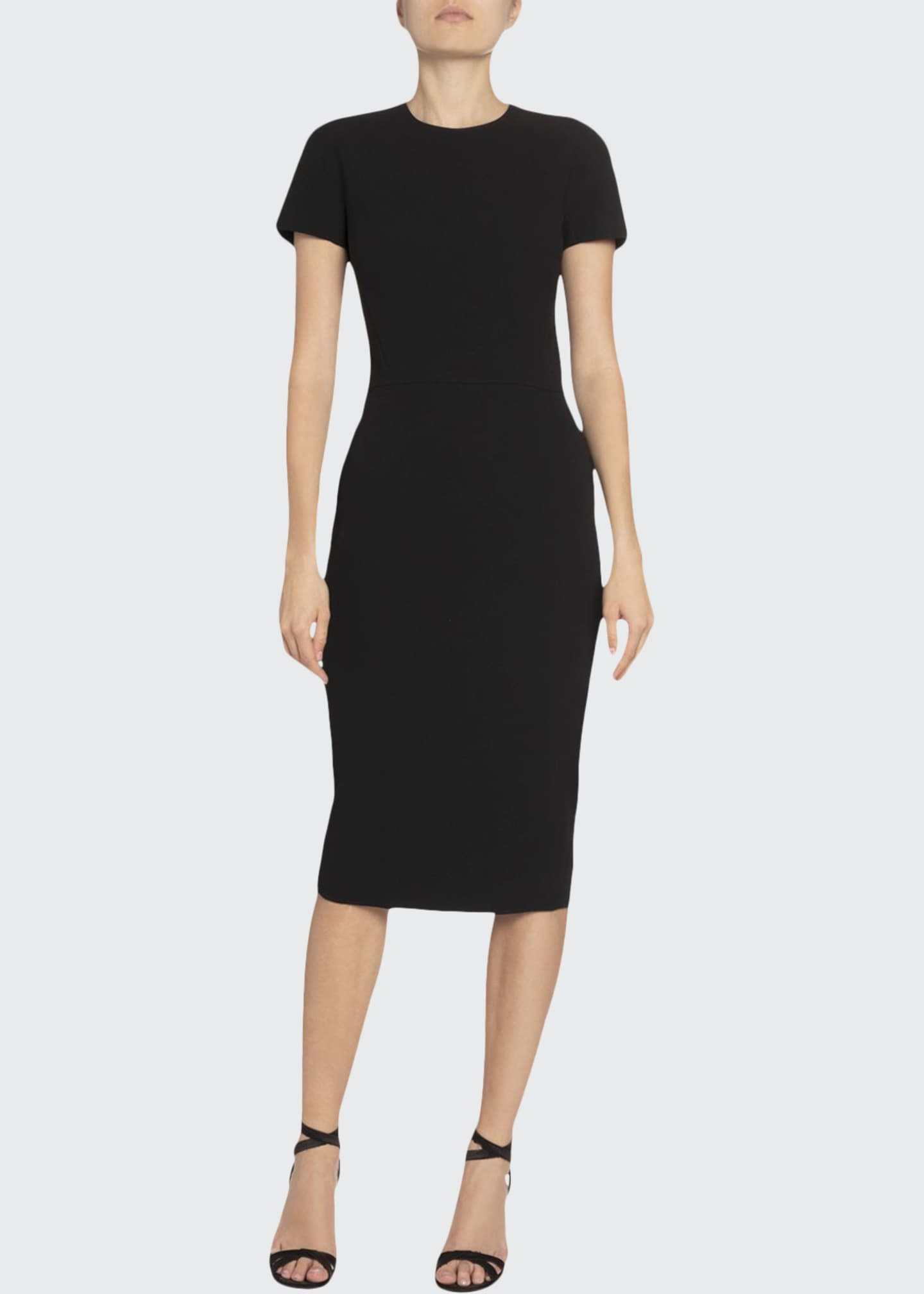 Image 1 of 2: Crepe Crewneck T-Shirt Dress