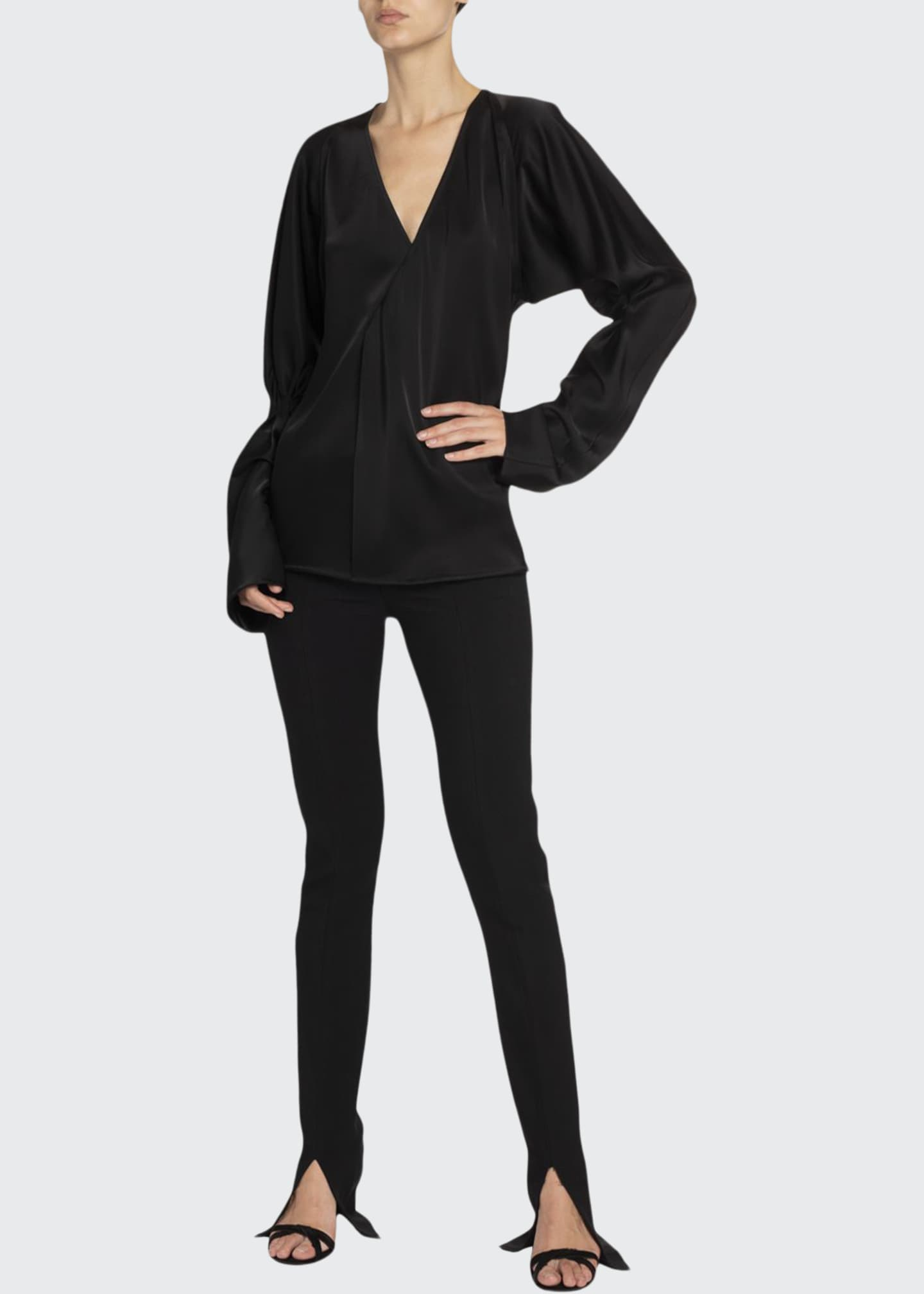 Image 1 of 2: Twill Slit-Cuff Tuxedo Trousers, Black