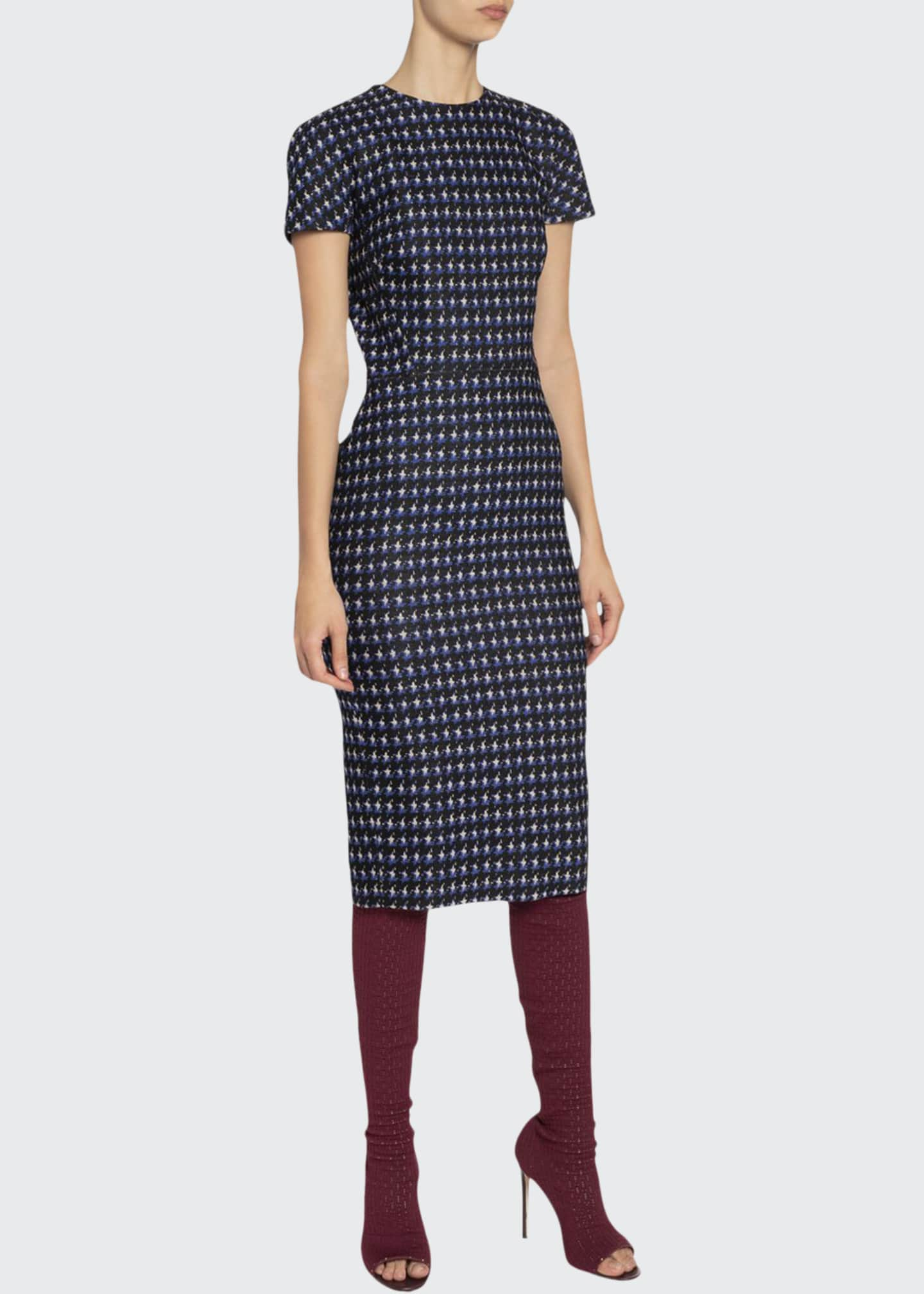 Image 1 of 2: Houndstooth Jacquard T-Shirt Dress
