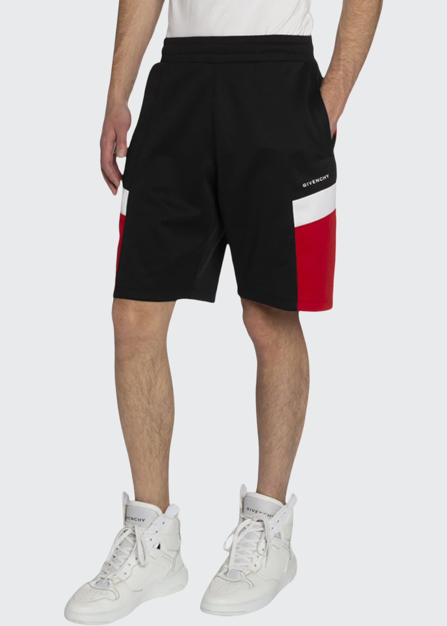 Image 1 of 2: Men's Contrast-Panel Sweat Shorts