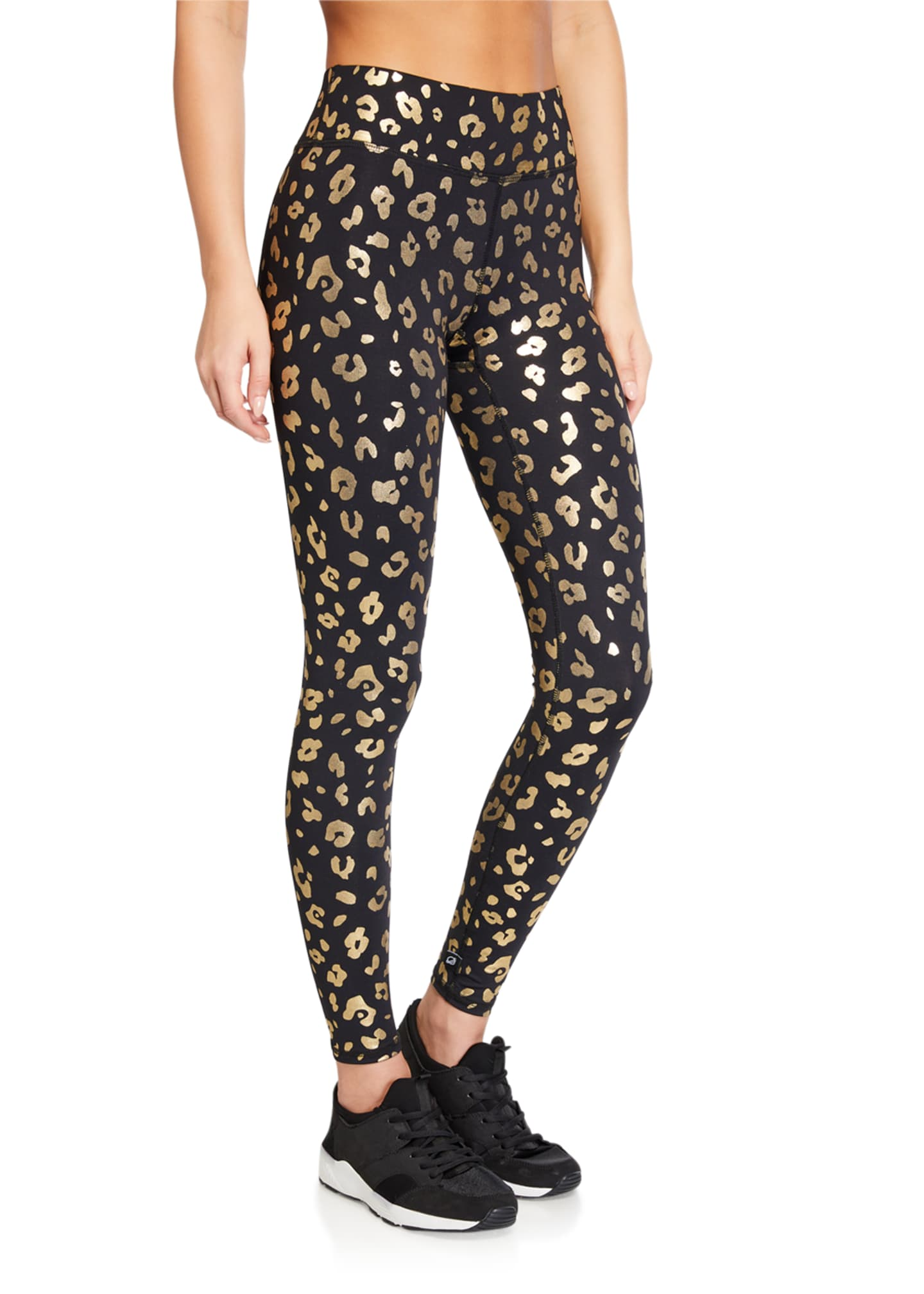 Image 1 of 3: Gold Cheetah Foil Printed Tall Band Leggings