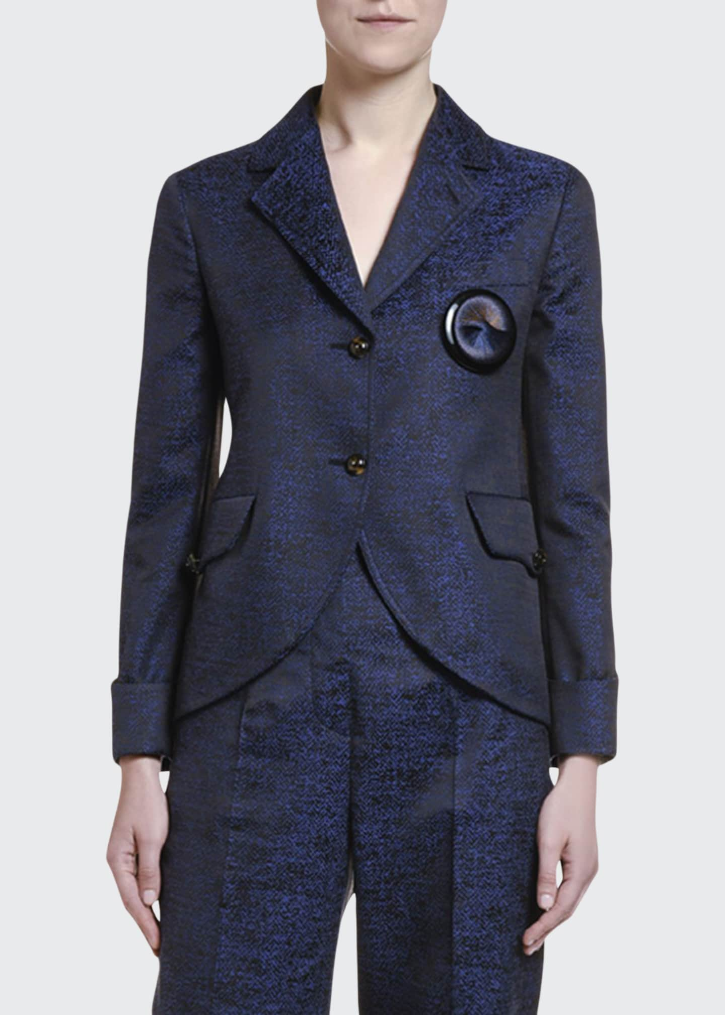 Image 1 of 2: Silk-Print Jacquard Two-Button Jacket