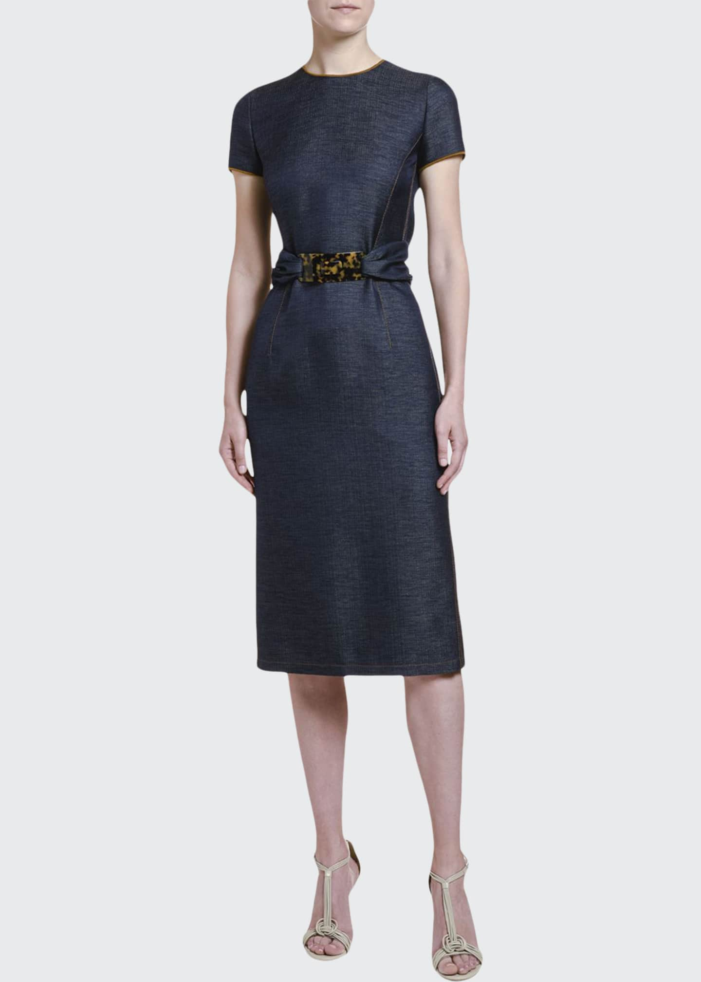 Image 1 of 4: Wool Chambray Belted Sheath Dress