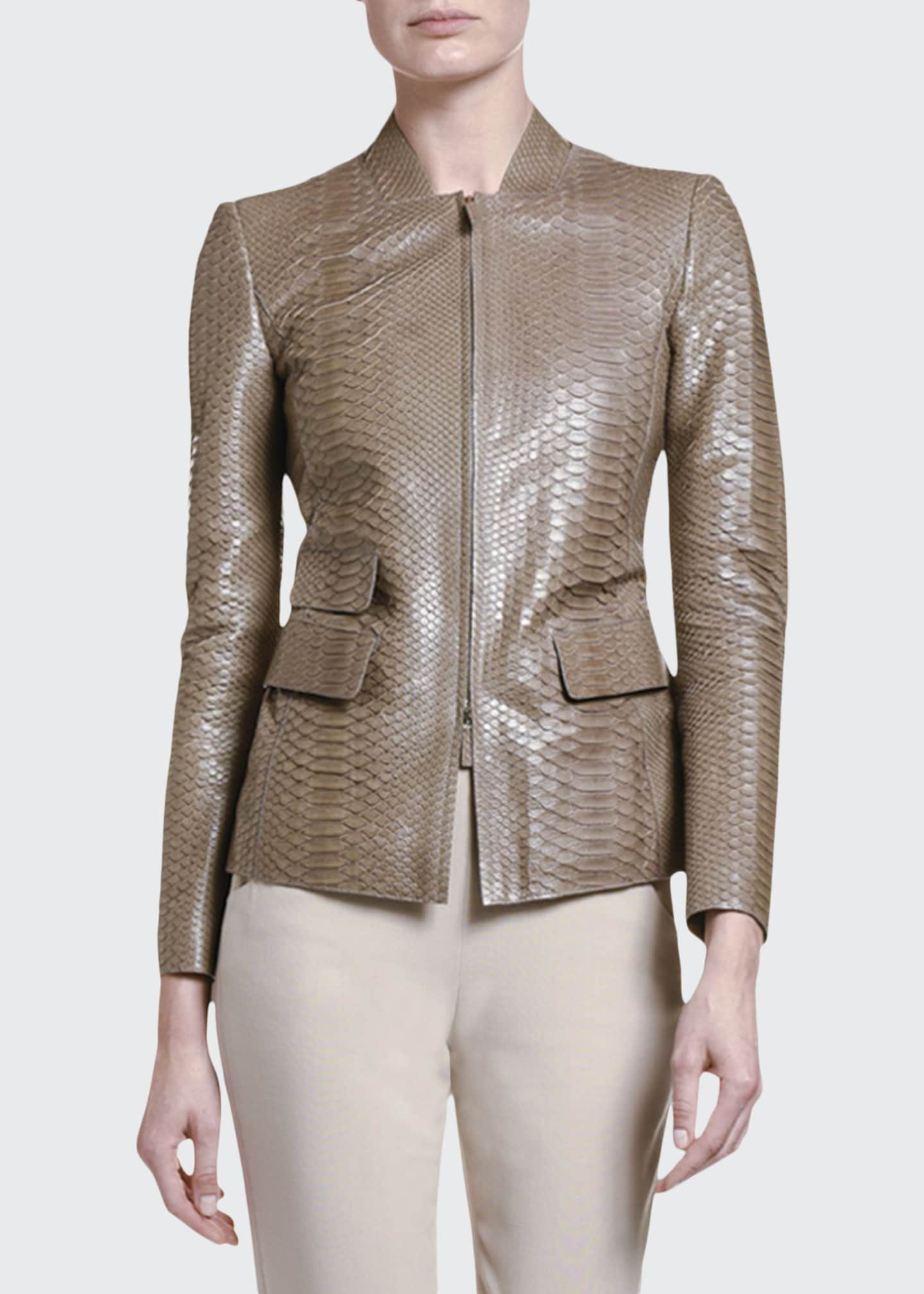 Image 1 of 2: Python Leather Zip-Front Jacket
