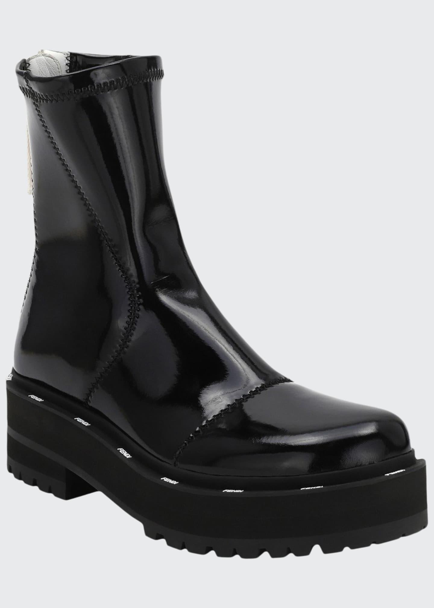 Fendi Shiny Platform Zip Booties