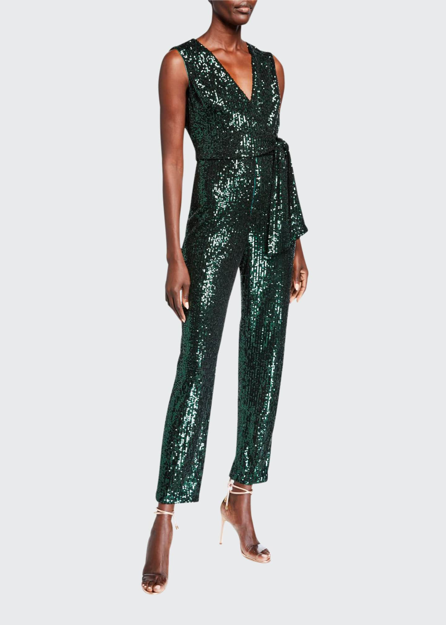 Image 1 of 5: Stretch Micro Sequins V-Neck Sleeveless Tie Jumpsuit