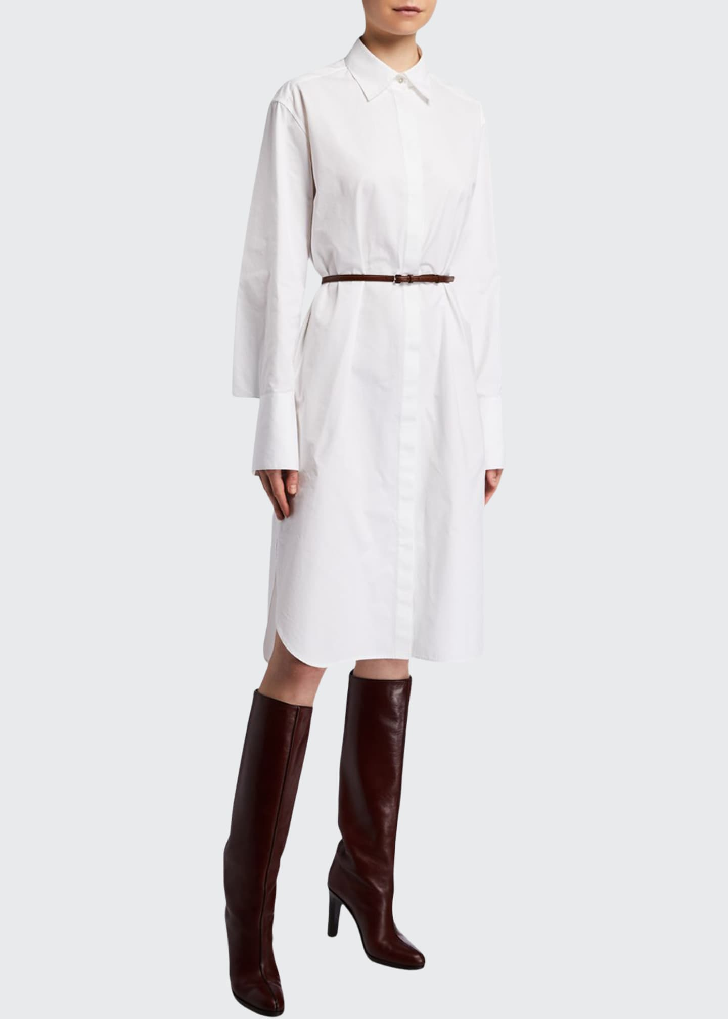 Image 1 of 2: Sonia Long-Sleeve Cotton Shirtdress