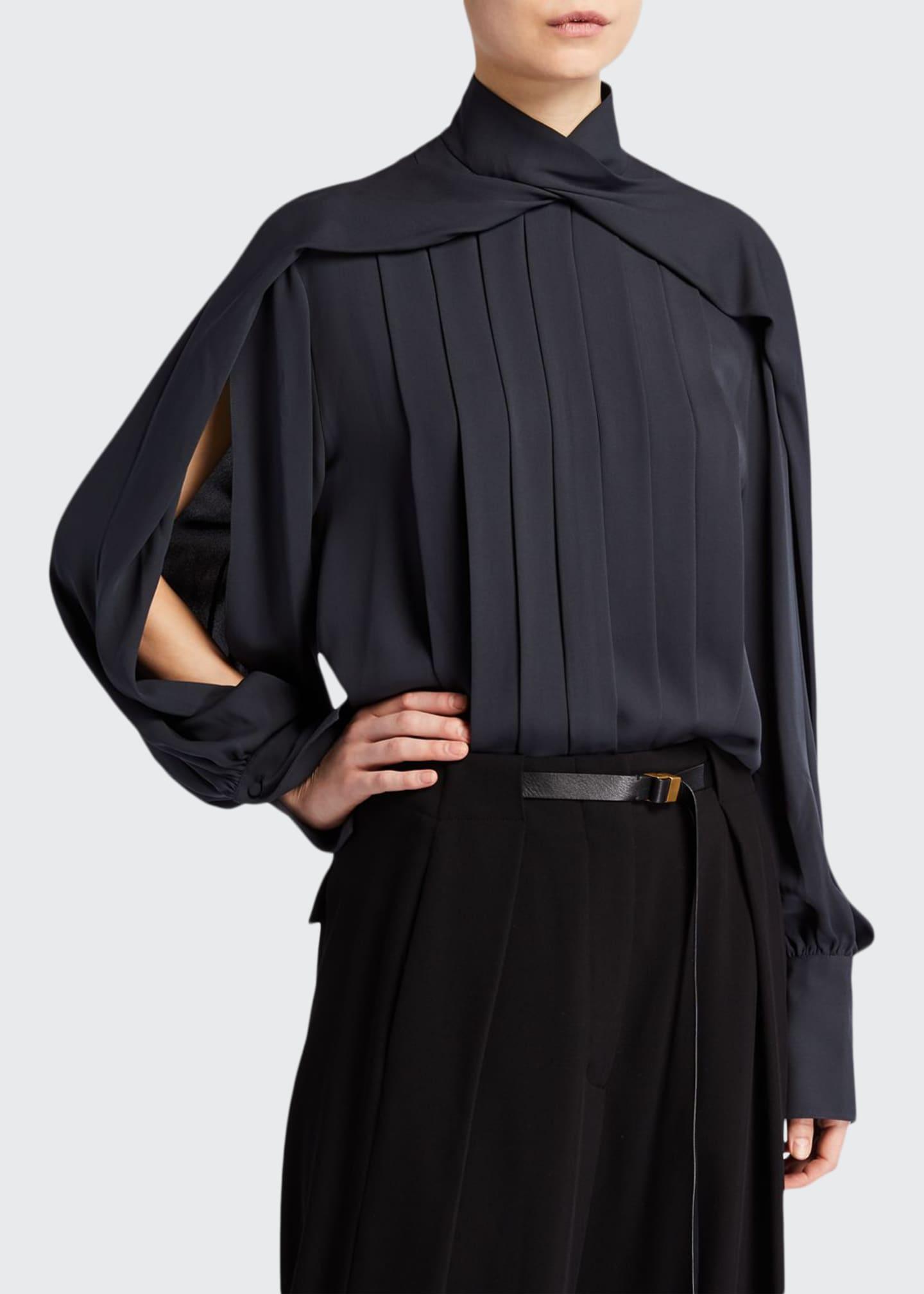 THE ROW Gilia Pleated-Silk Open Sleeve Top