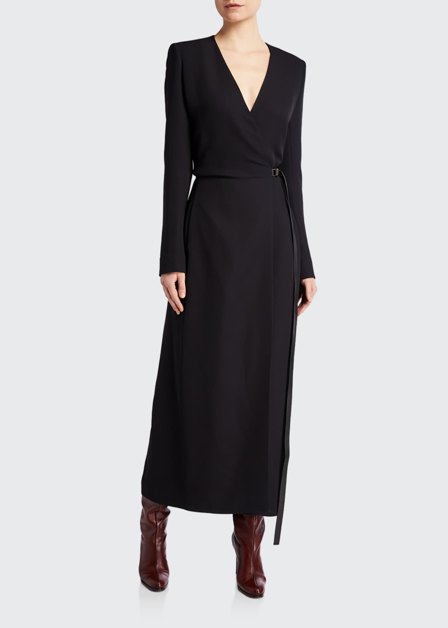 Image 1 of 2: Vana Belted Wrap Silk Dress
