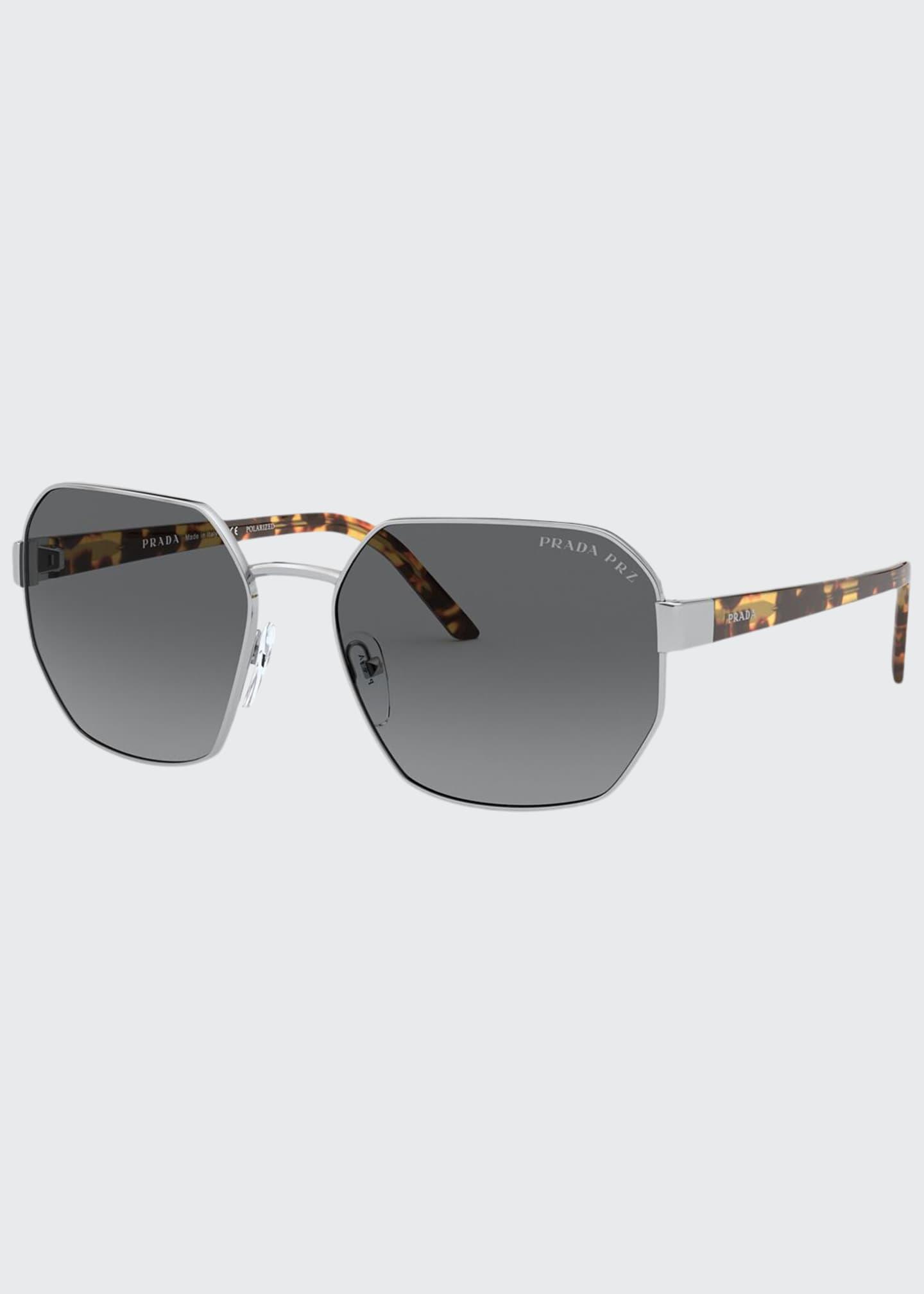 Prada Square Metal Polarized Sunglasses