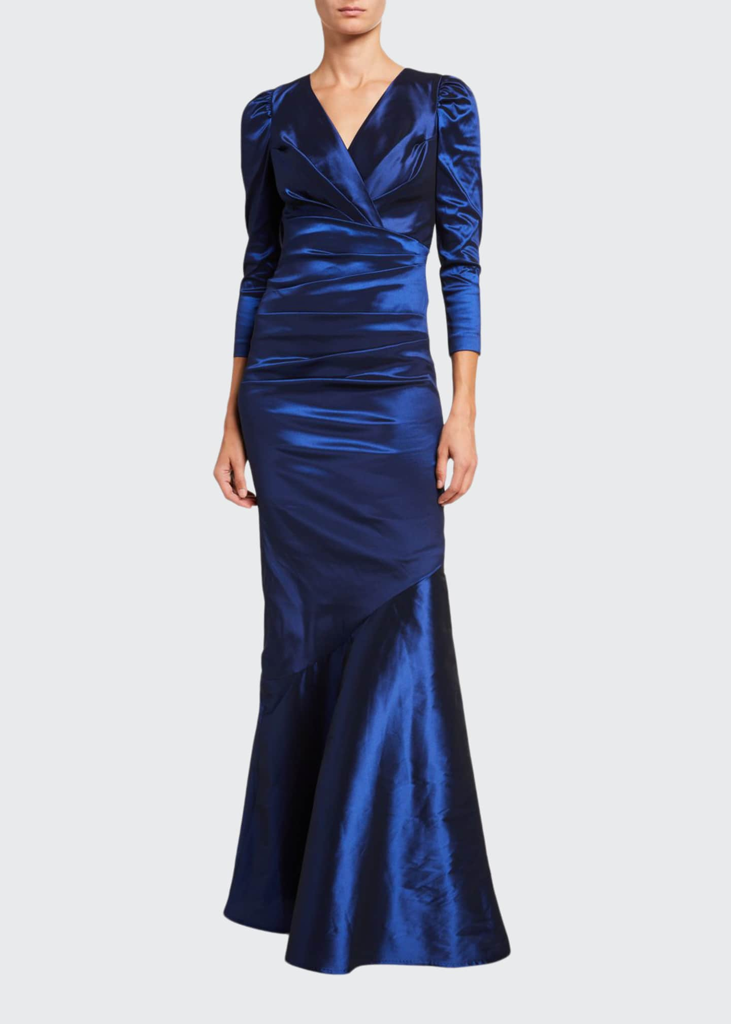 Image 1 of 2: V-Neck 3/4-Sleeve Taffeta Trumpet Gown