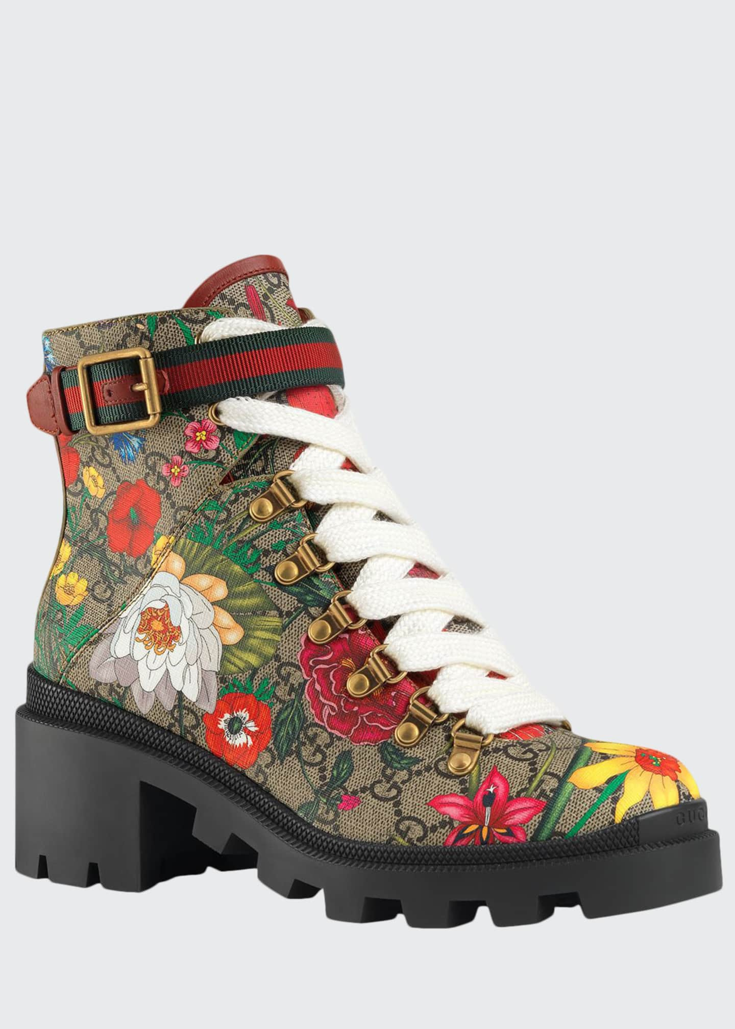 Gucci Trip 40mm Floral Canvas Hiker Boots