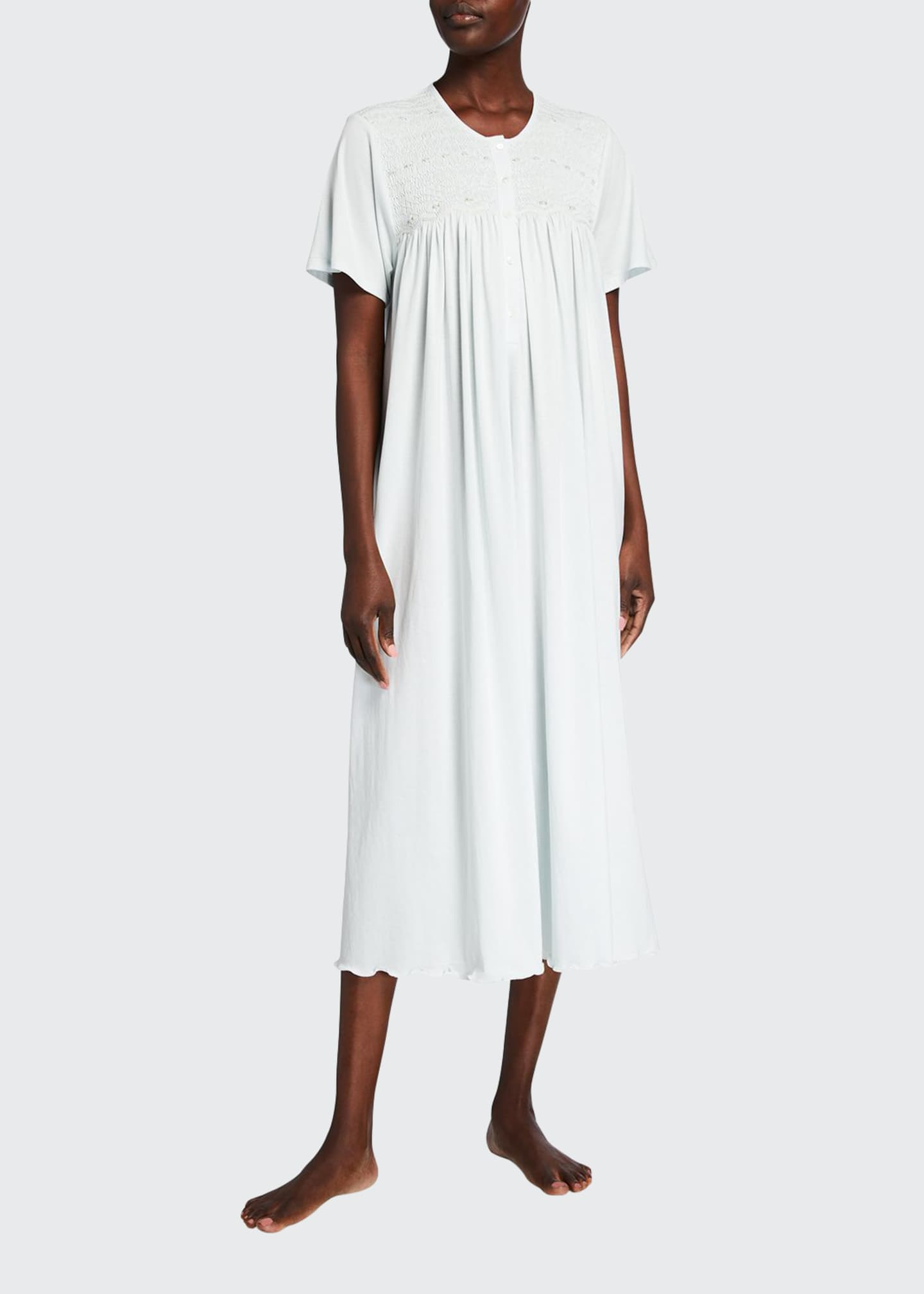 Image 1 of 2: Eloise Short-Sleeve Pima Cotton Jersey Nightgown