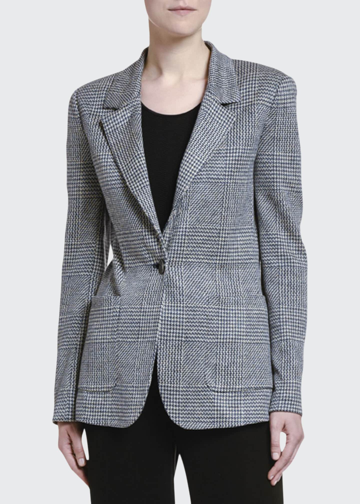 Image 1 of 2: Checked Linen One-Button Blazer Jacket