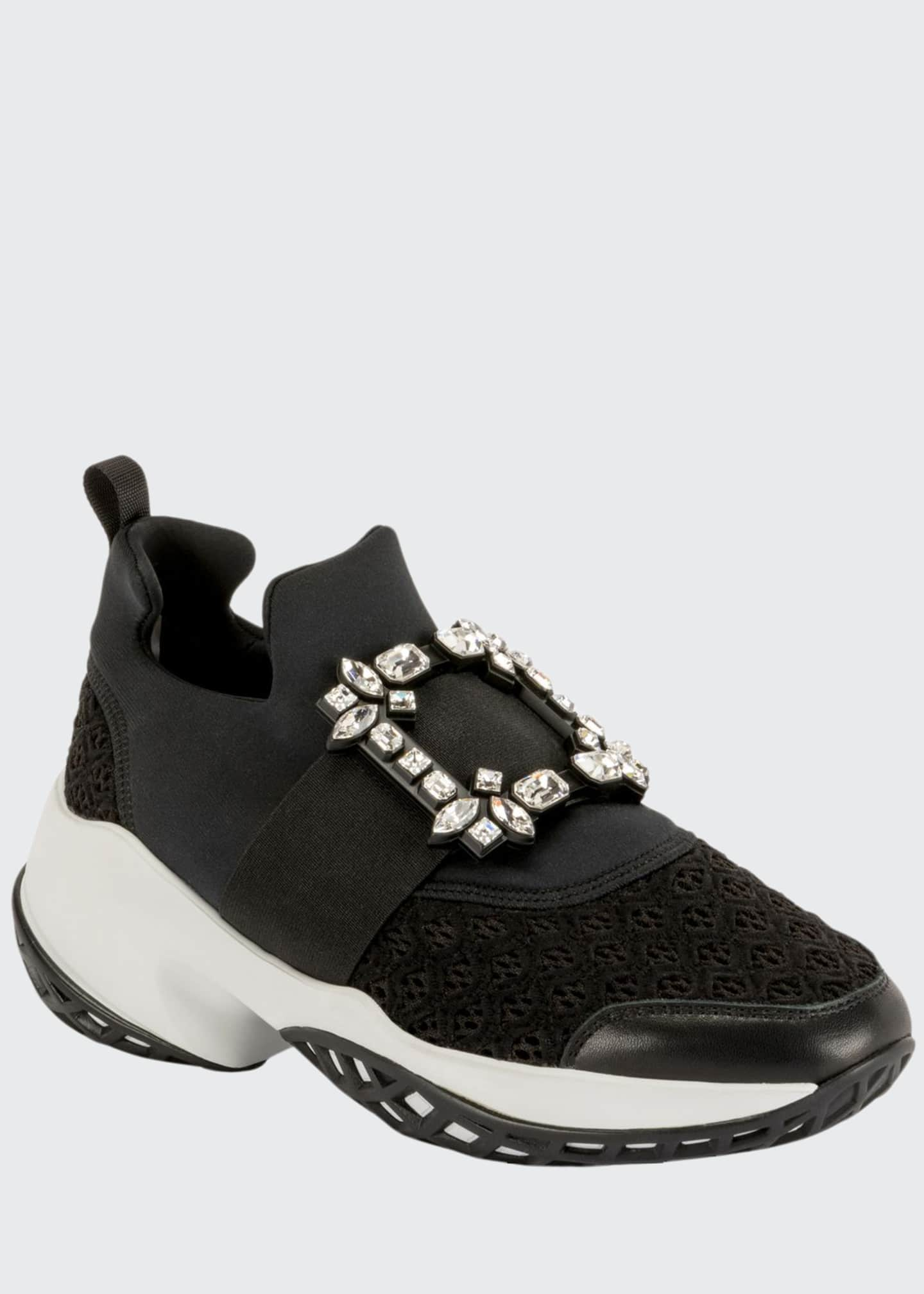 Image 1 of 4: Viv' Run Stretch Crystal Buckle Sneakers