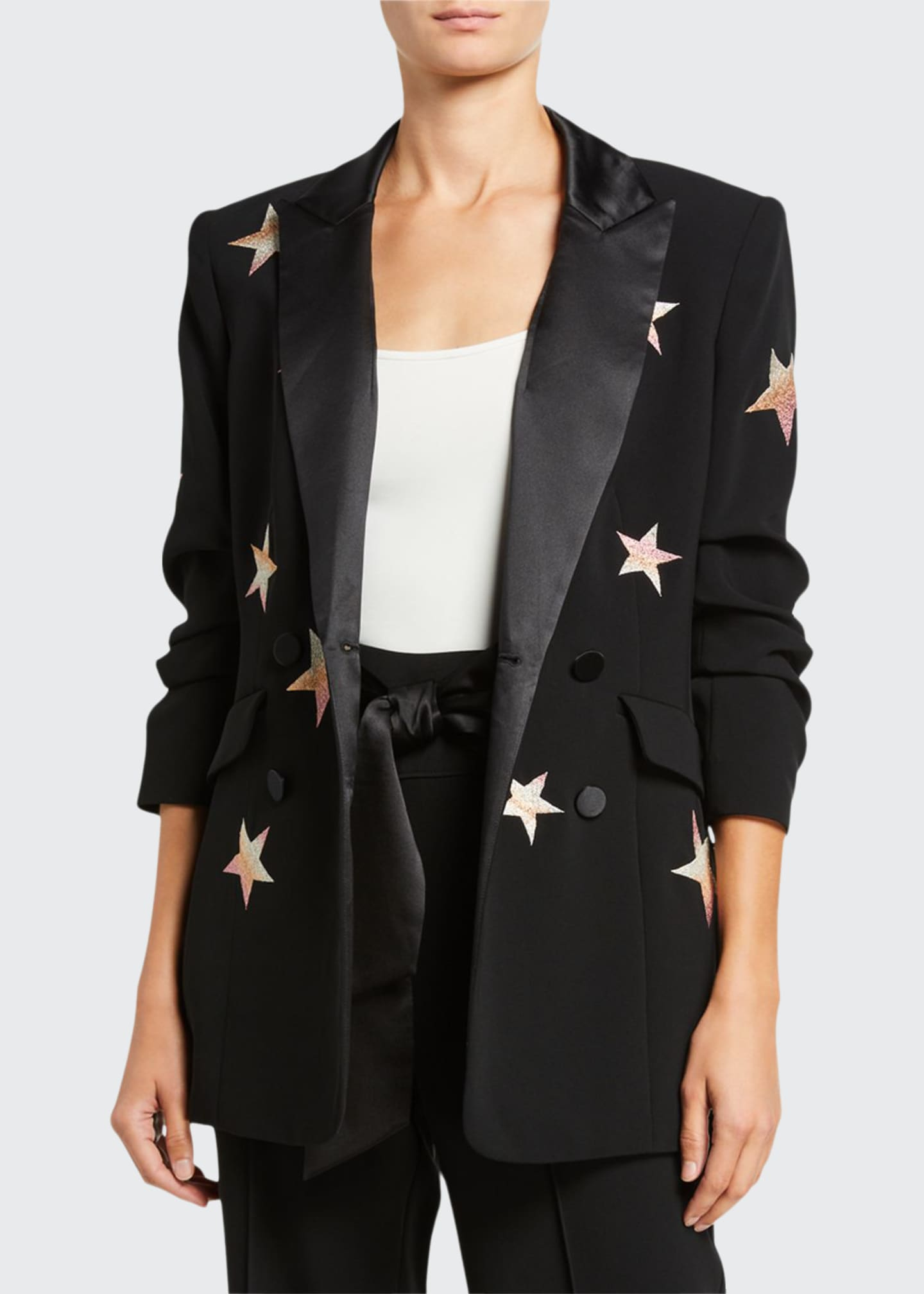 cinq a sept Lila Embroidered Star Blazer