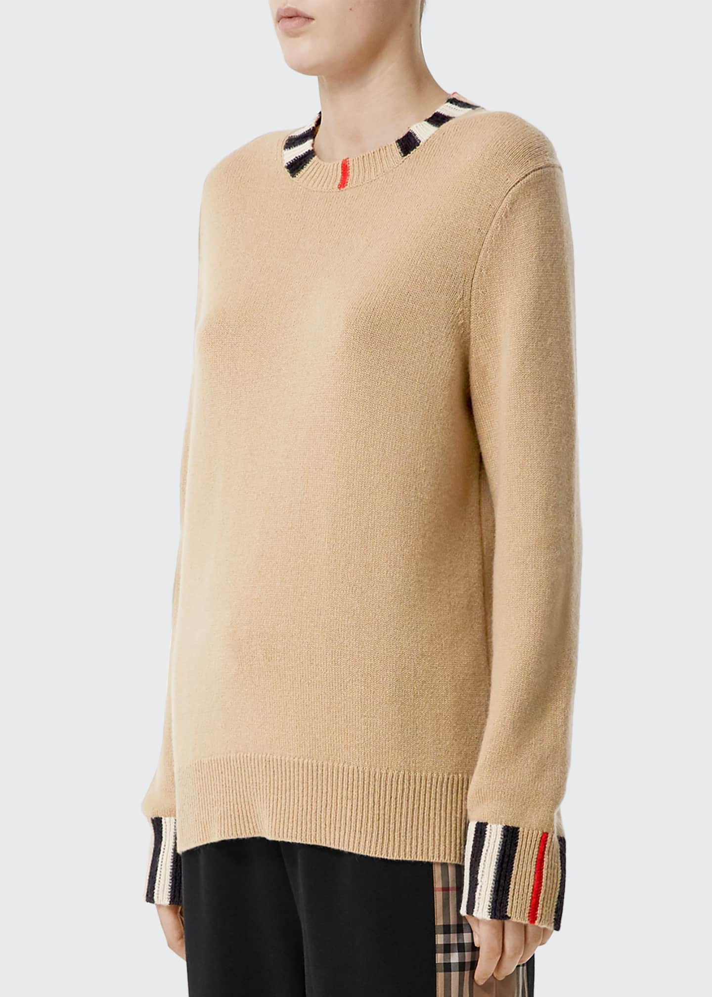 Burberry Cashmere Check-Trim Sweater, Beige