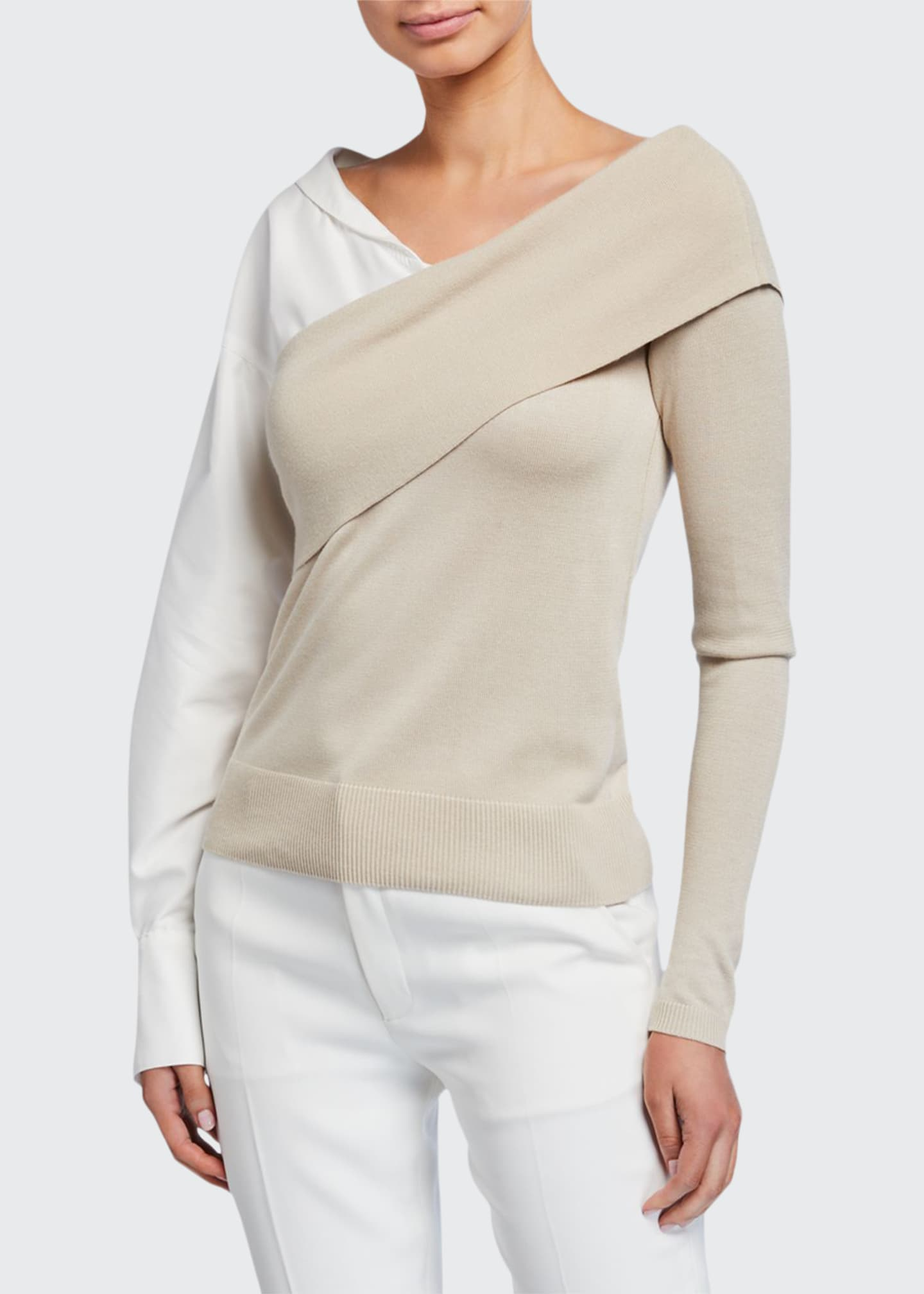 Image 1 of 2: Two-Way Knit Poplin-Sleeve Sweater