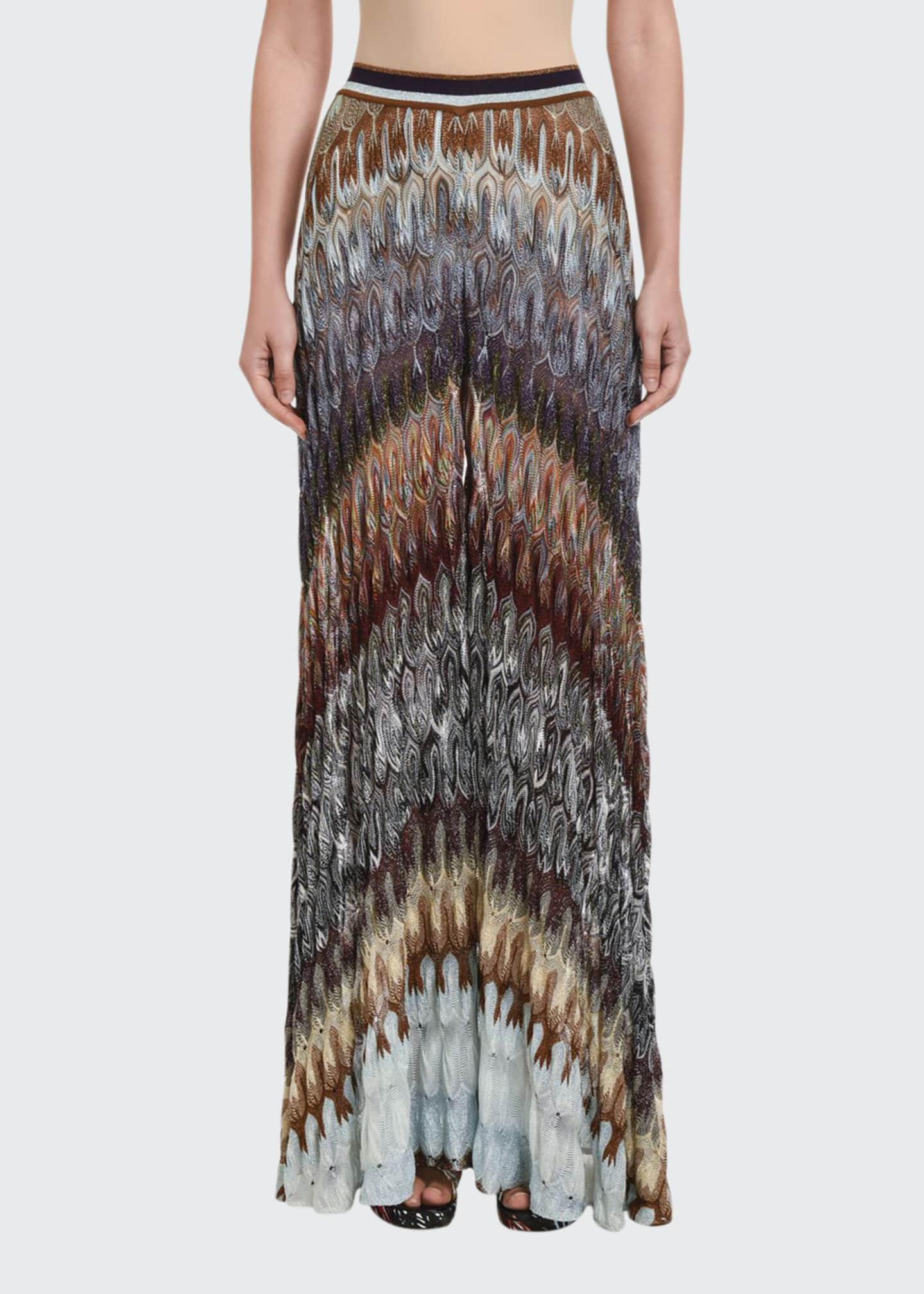Image 1 of 3: Flamed Lame Wide-Leg Pants