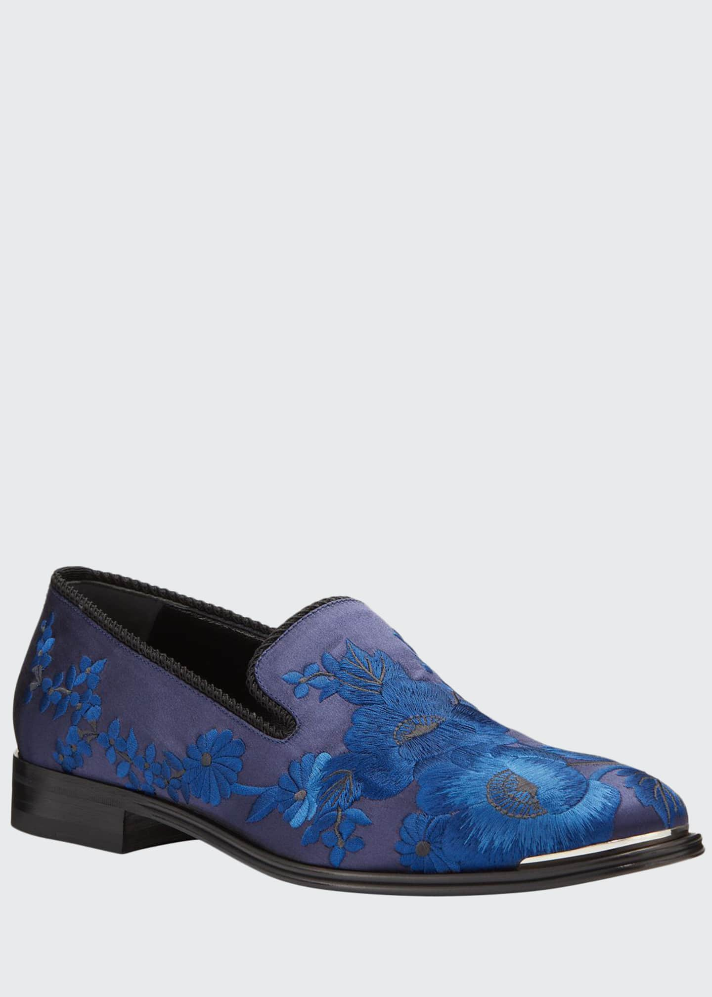 Image 1 of 4: Men's Embroidered Satin Formal Slip-On Loafers