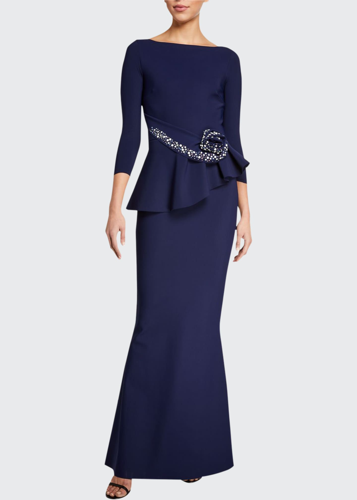 Image 1 of 5: Boat-Neck 3/4-Sleeve Rosette Peplum Gown