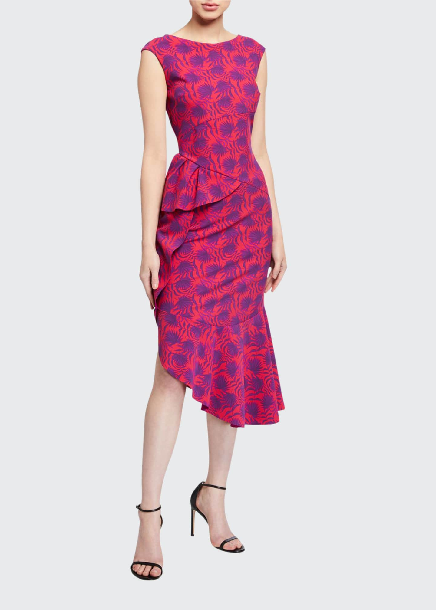 Image 1 of 5: Printed High-Neck Sleeveless Asymmetric Flounce Dress