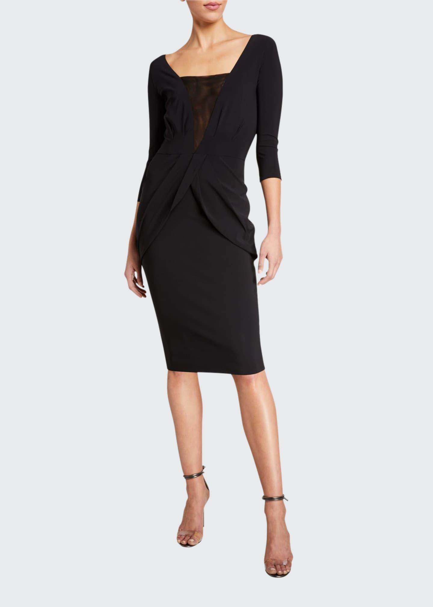 Chiara Boni La Petite Robe Long-Sleeve V-Neck Dress