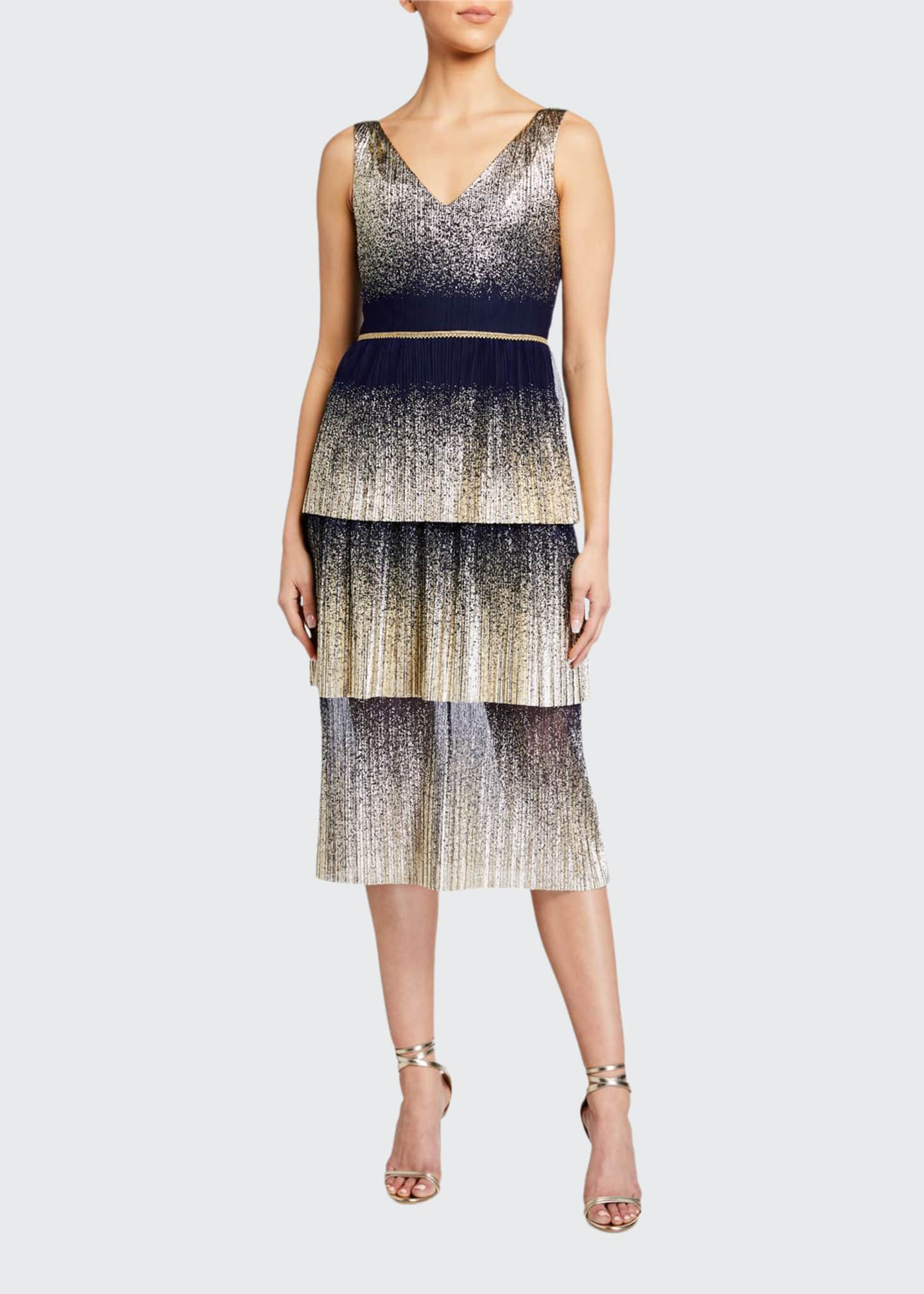 Image 1 of 2: V-Neck Pleated Foil Degrade Tiered Cocktail Dress