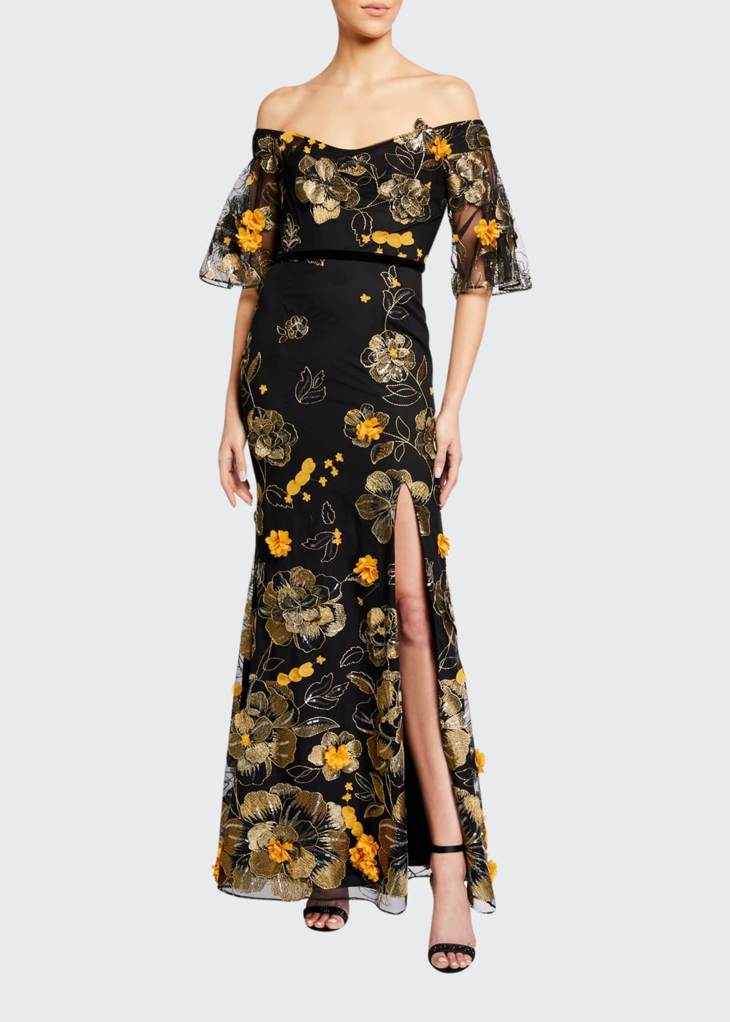 Marchesa Notte Off-the-Shoulder Flutter-Sleeve Embroidered Tulle Gown