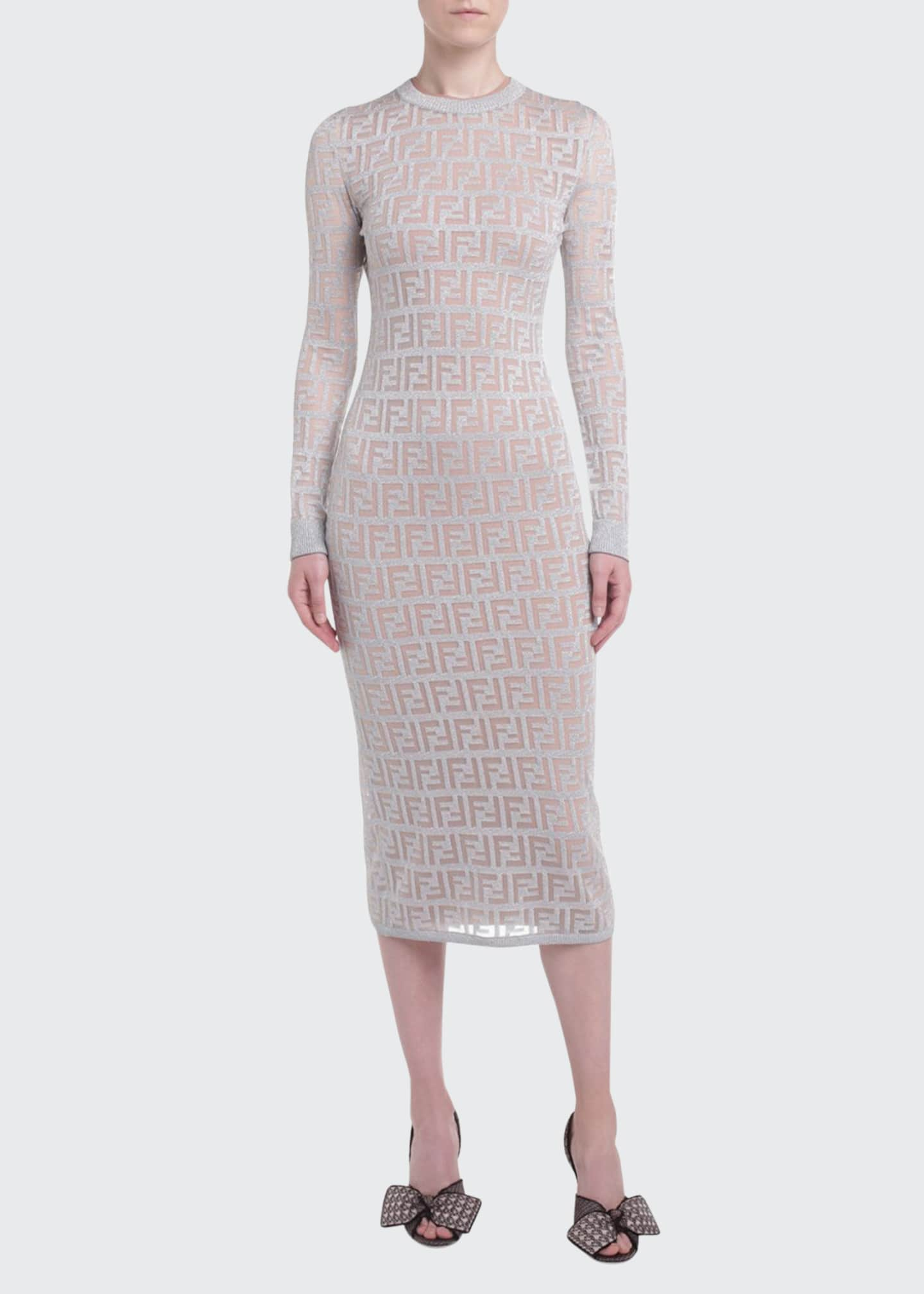 Image 1 of 2: Logo-Jacquard Long-Sleeve Bodycon Dress