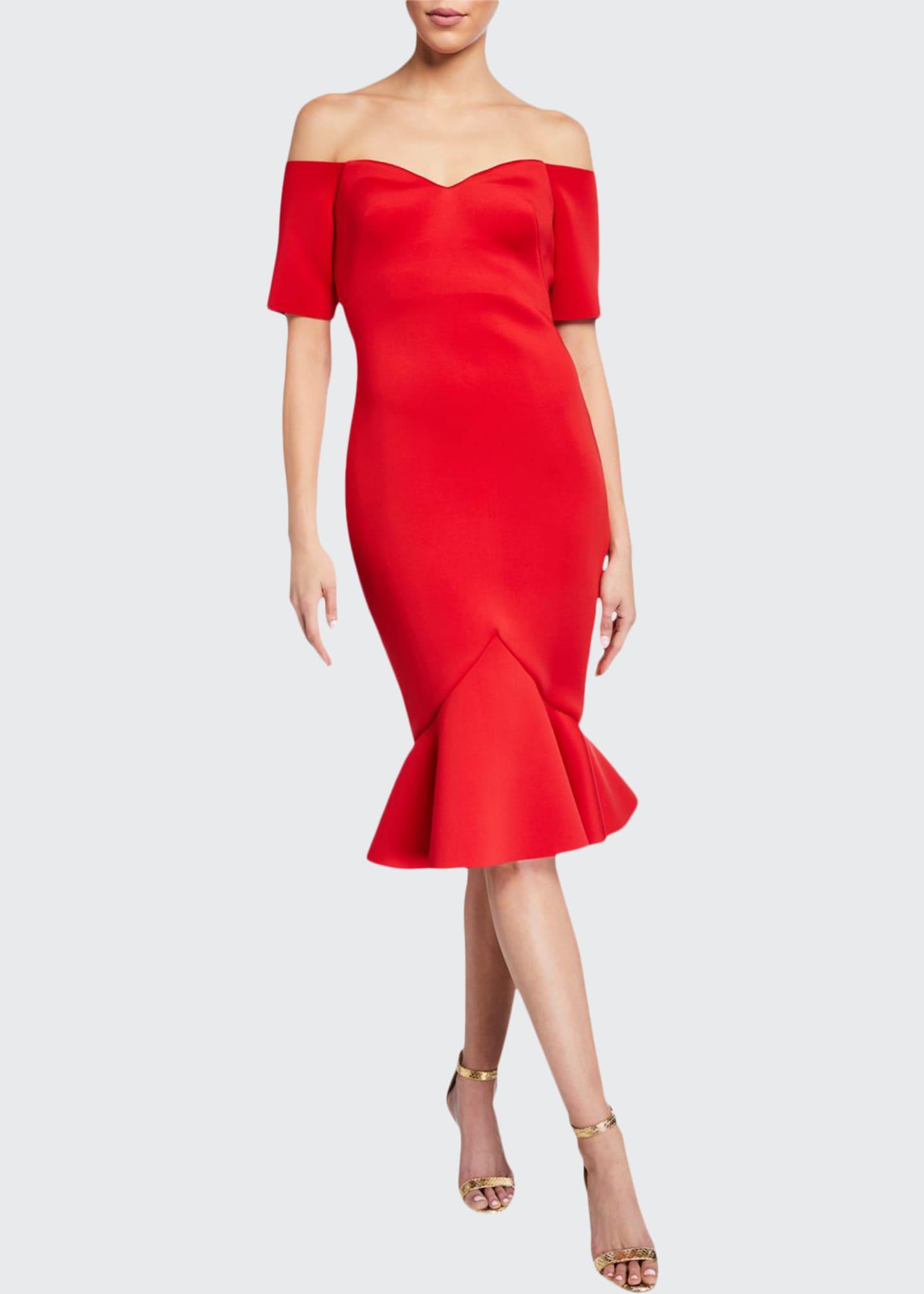 Badgley Mischka Collection Off-The-Shoulder Flounce-Hem Dress