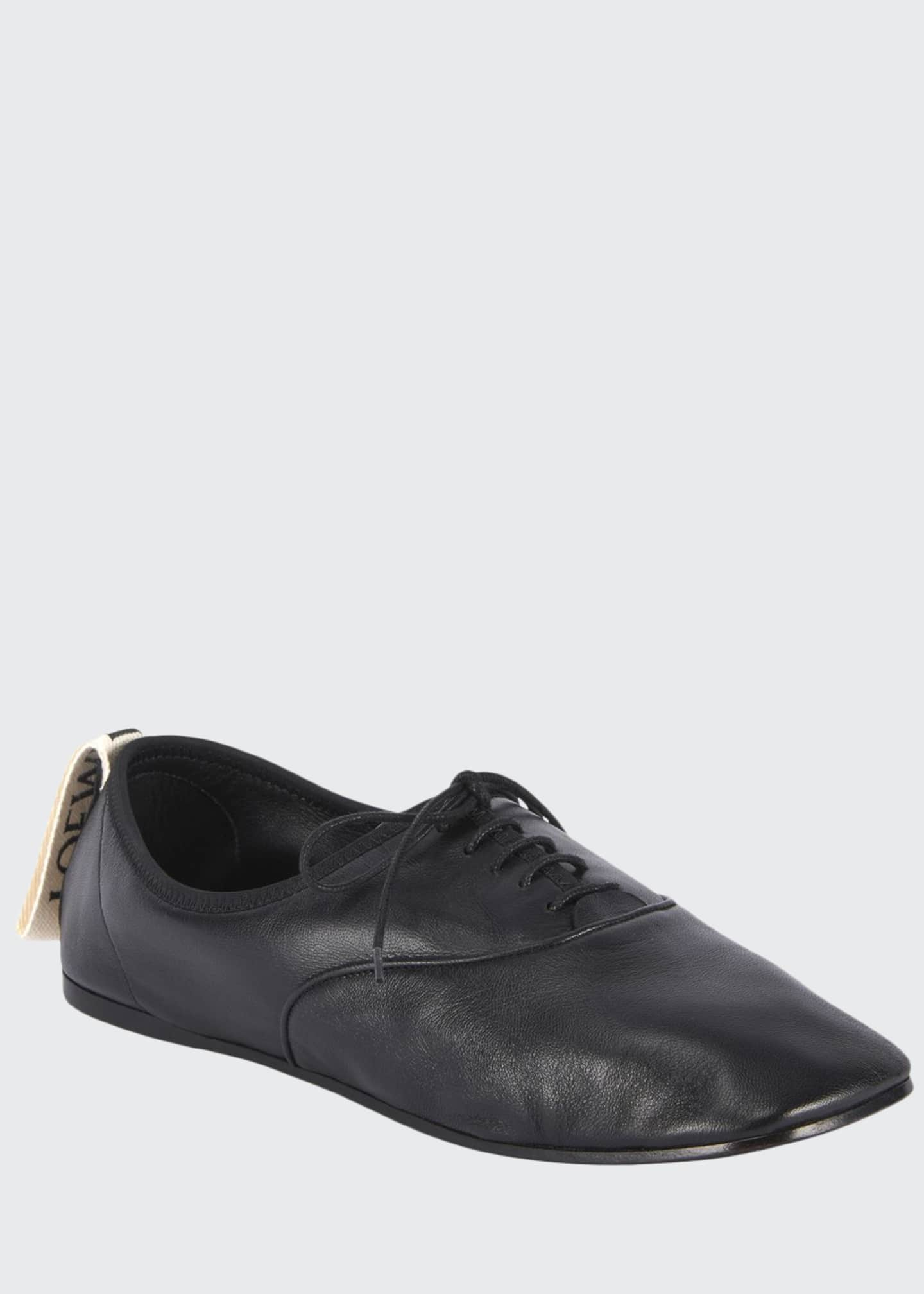 Loewe Soft Leather Derby Flats, Black