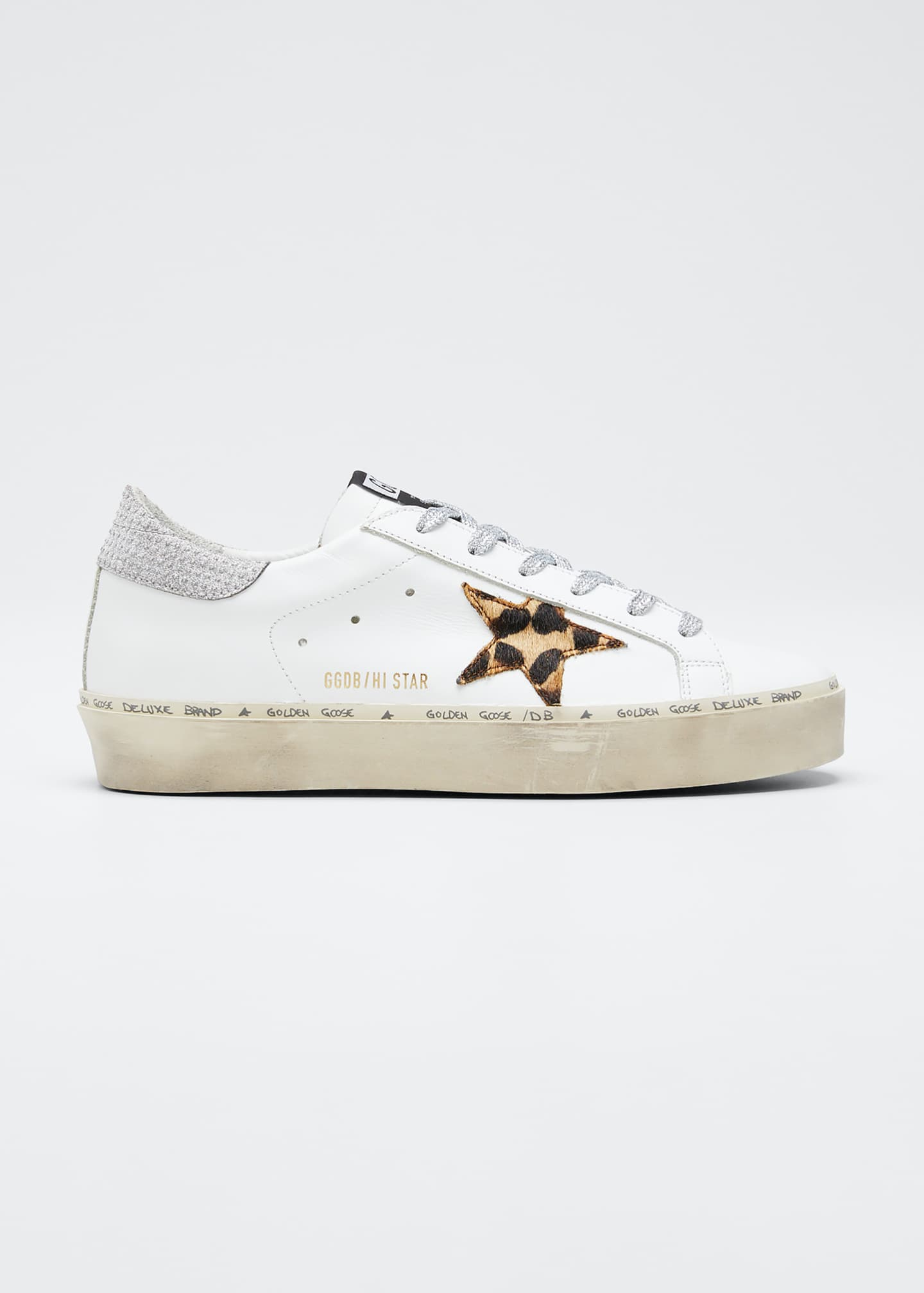 Golden Goose Hi Star Leopard Metallic Sneakers