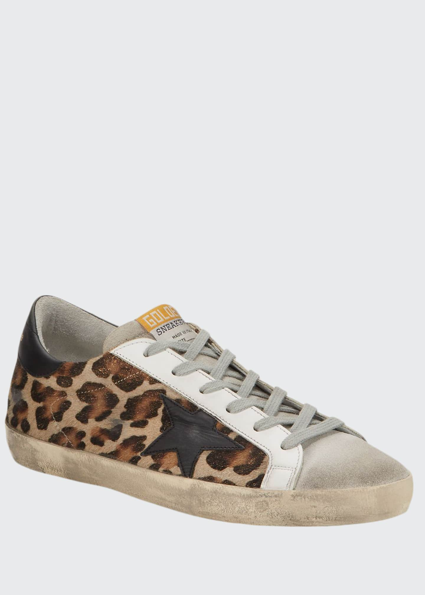 Golden Goose Superstar Leopard Calf Hair Sneakers