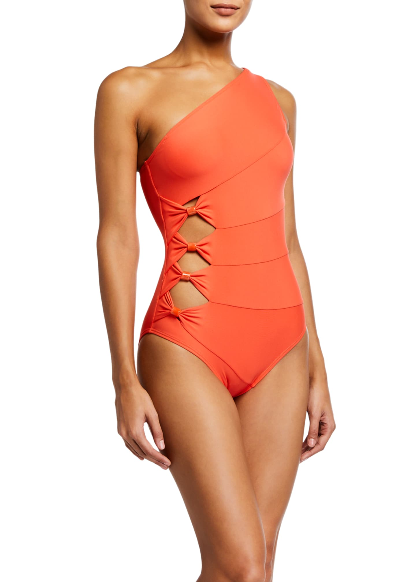 Image 1 of 2: One-Shoulder Paneled Cutout One-Piece Swimsuit