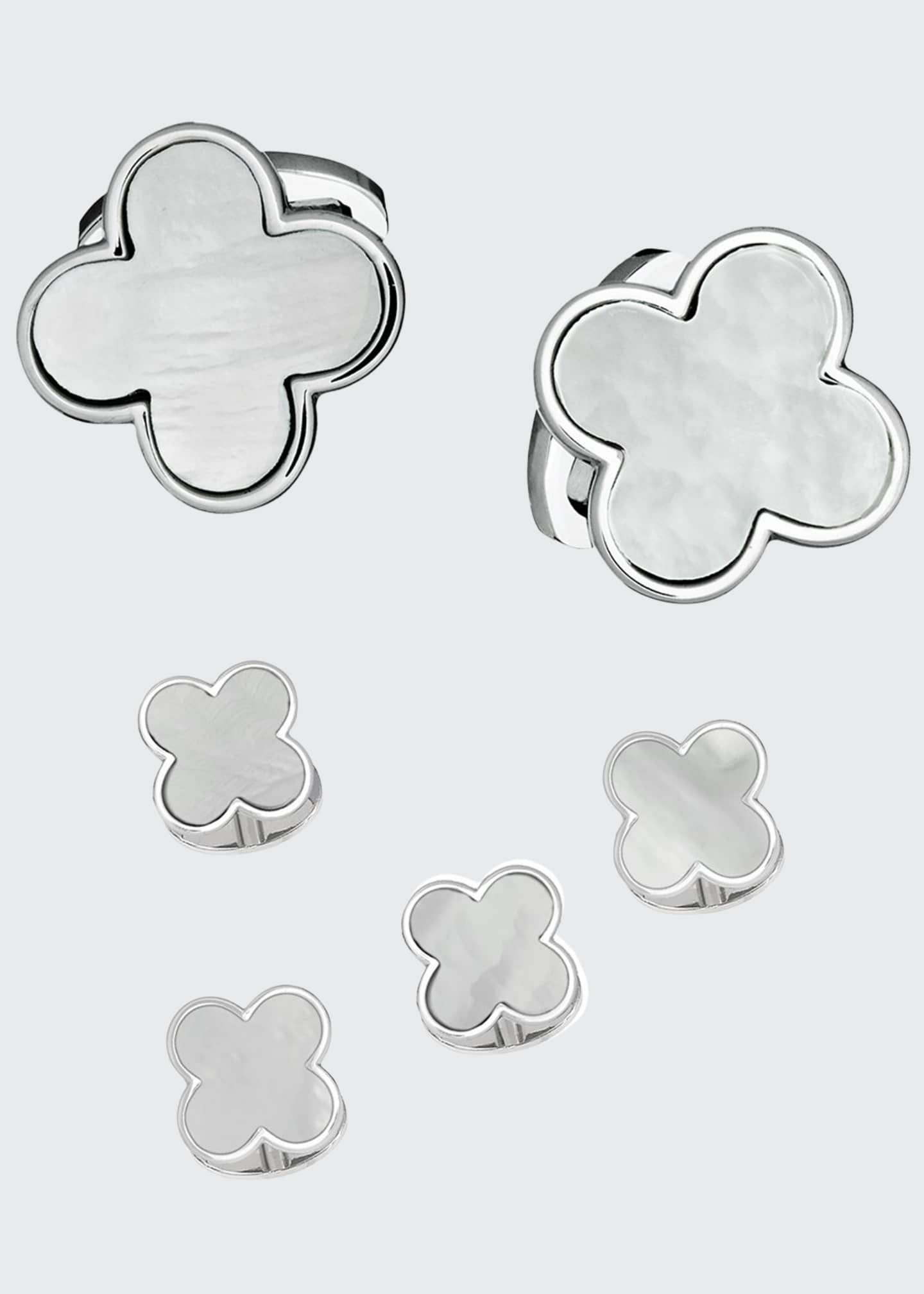 Image 1 of 1: Men's Mother-of-Pearl Clover Cufflink & Stud Set