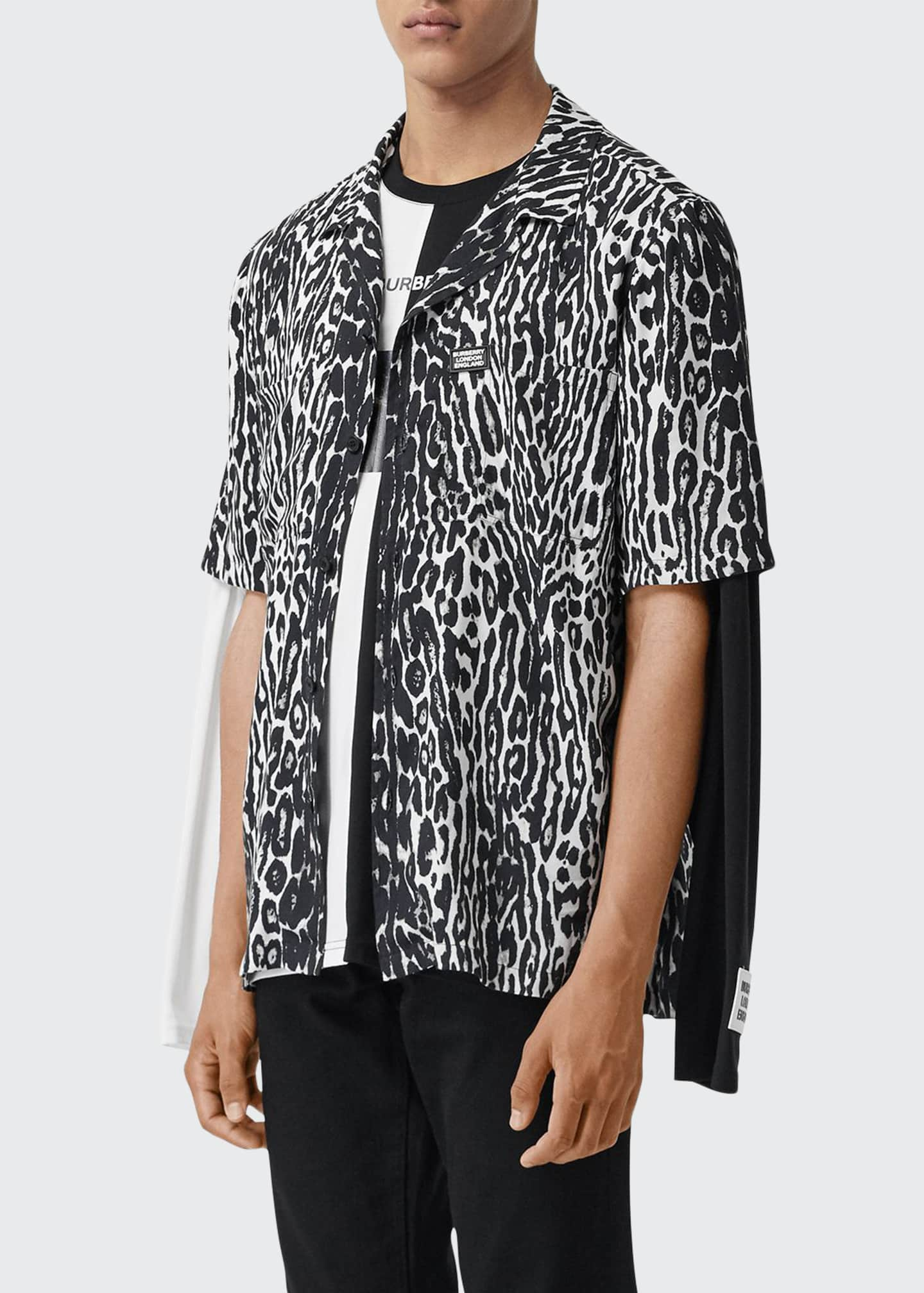 Image 1 of 4: Men's Leopard-Print Camp Shirt