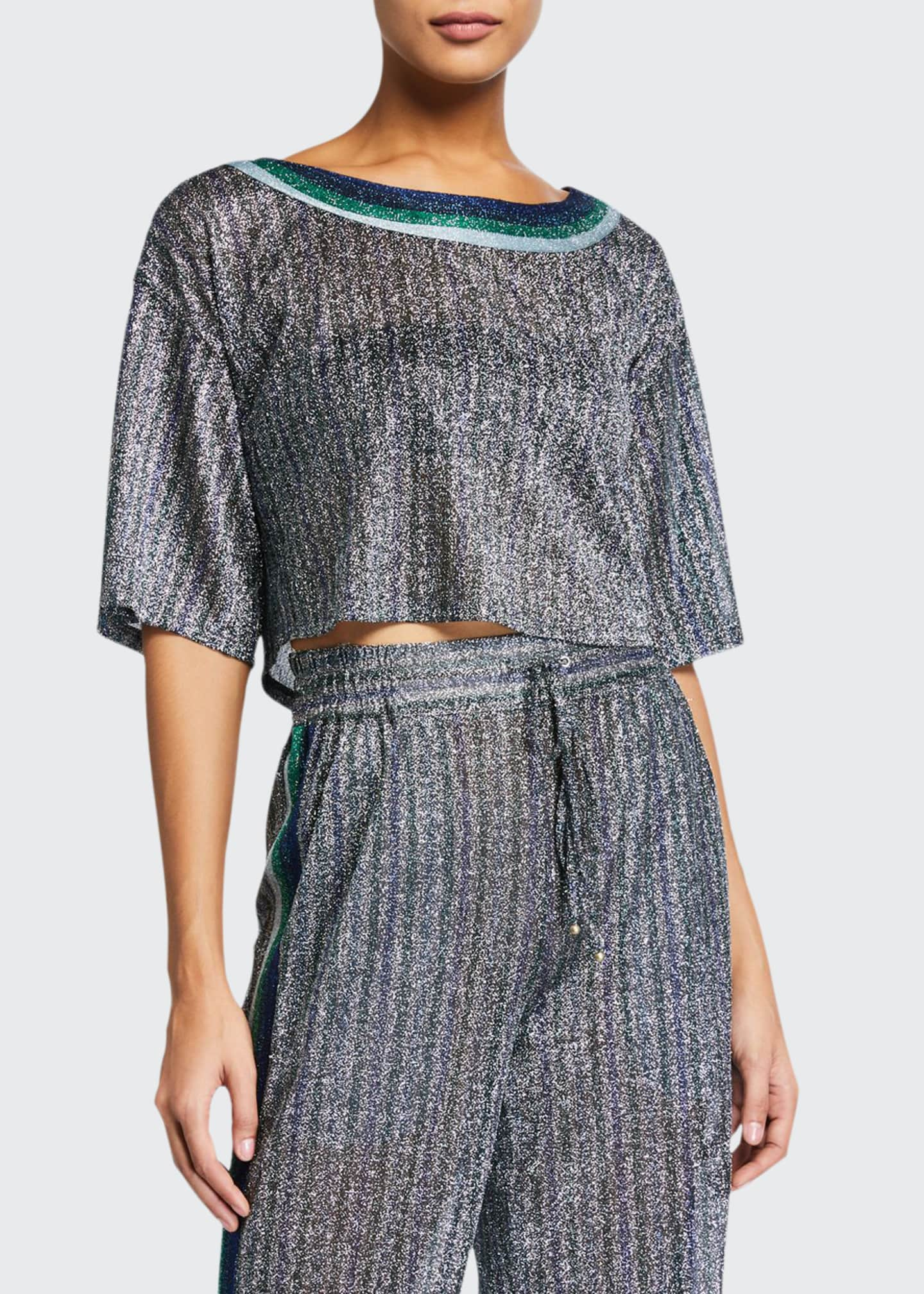 Jonathan Simkhai Cropped Metallic Round-Neck Coverup Tee